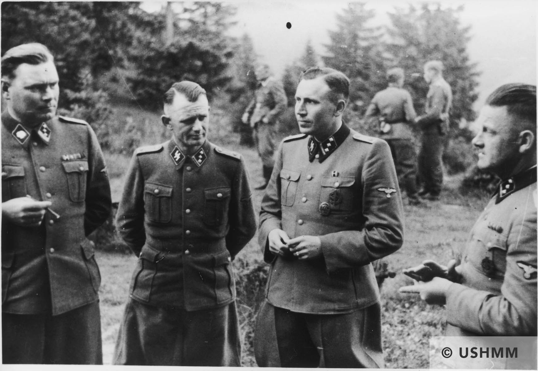 A group of SS officers gather at Solahütte. USHMM 34756