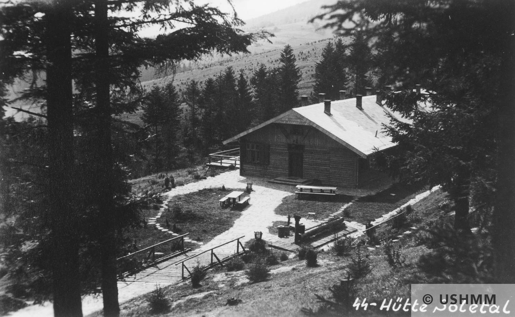 A view from above of a building and surrounding grounds of Solahütte. USHMM 34749
