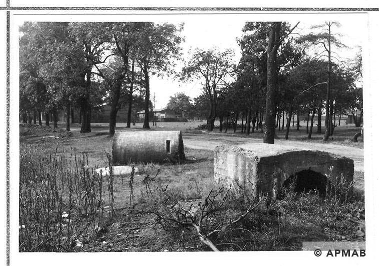 Air raid bunkers close to guard tower. 1967 APMAB 11206
