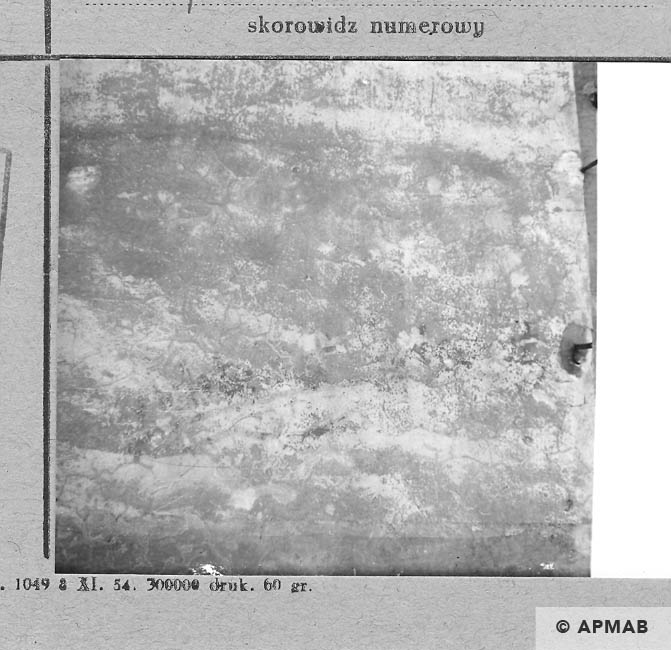 Almost invisible inscription on bath wall. 1966 APMAB 10180
