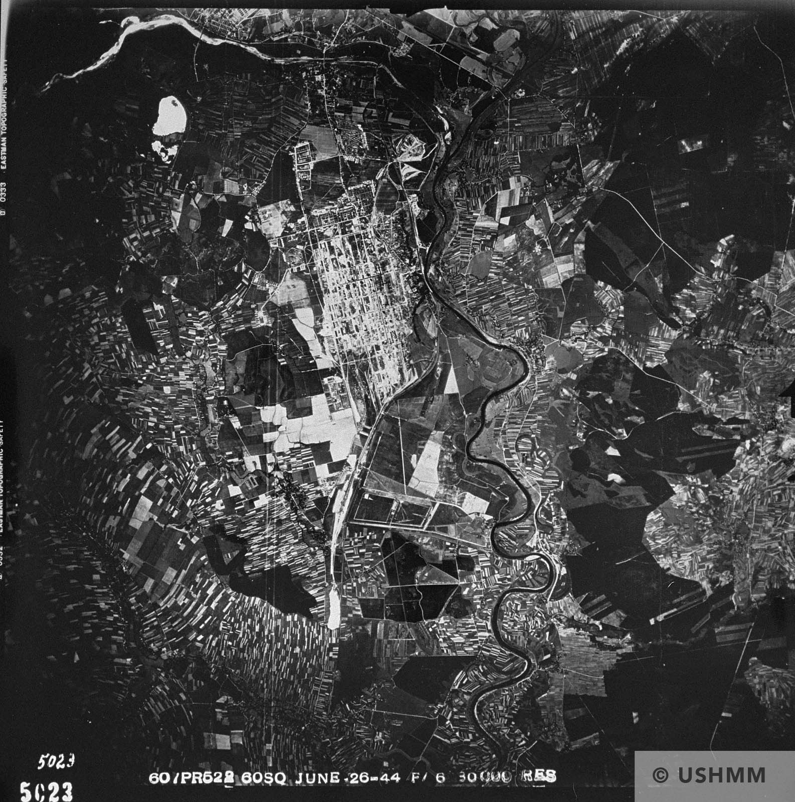 An aerial reconnaissance photograph of the Auschwitz area showing the Auschwitz III camp, the Buna complex. 26 June 1944 USHMM 04150
