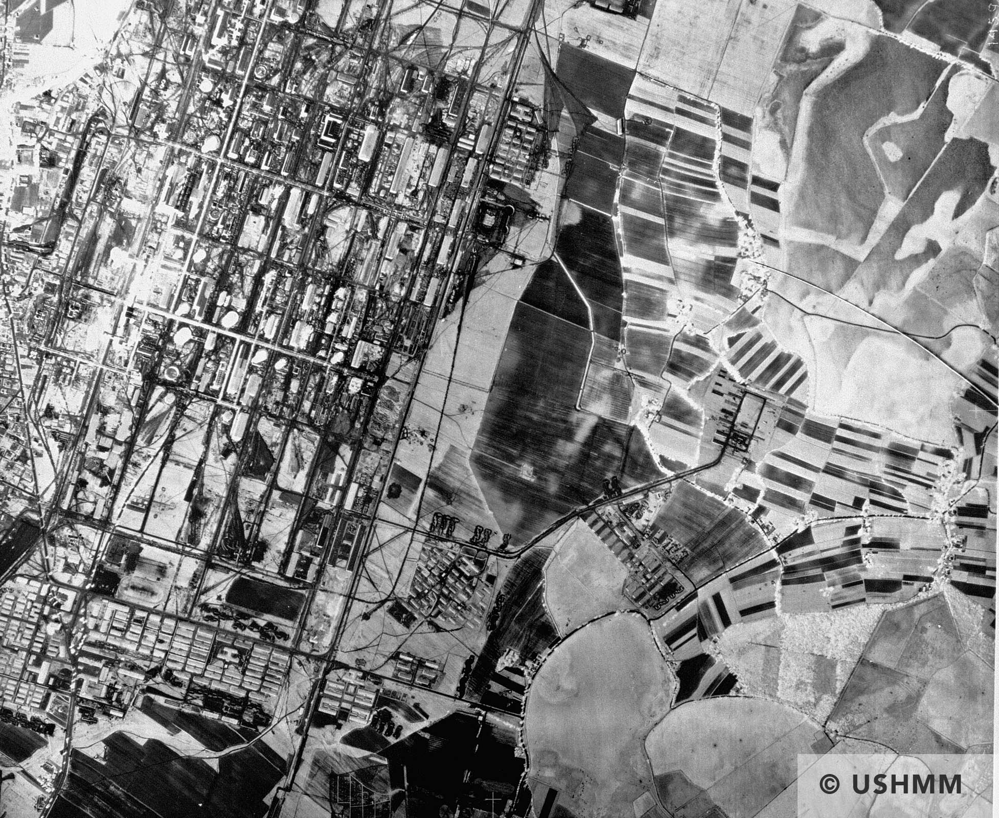 An aerial reconnaissance photograph showing the I.G. Farben Buna plant at Auschwitz with the Auschwitz III prisoners camp. April to August 1944 USHMM 04312