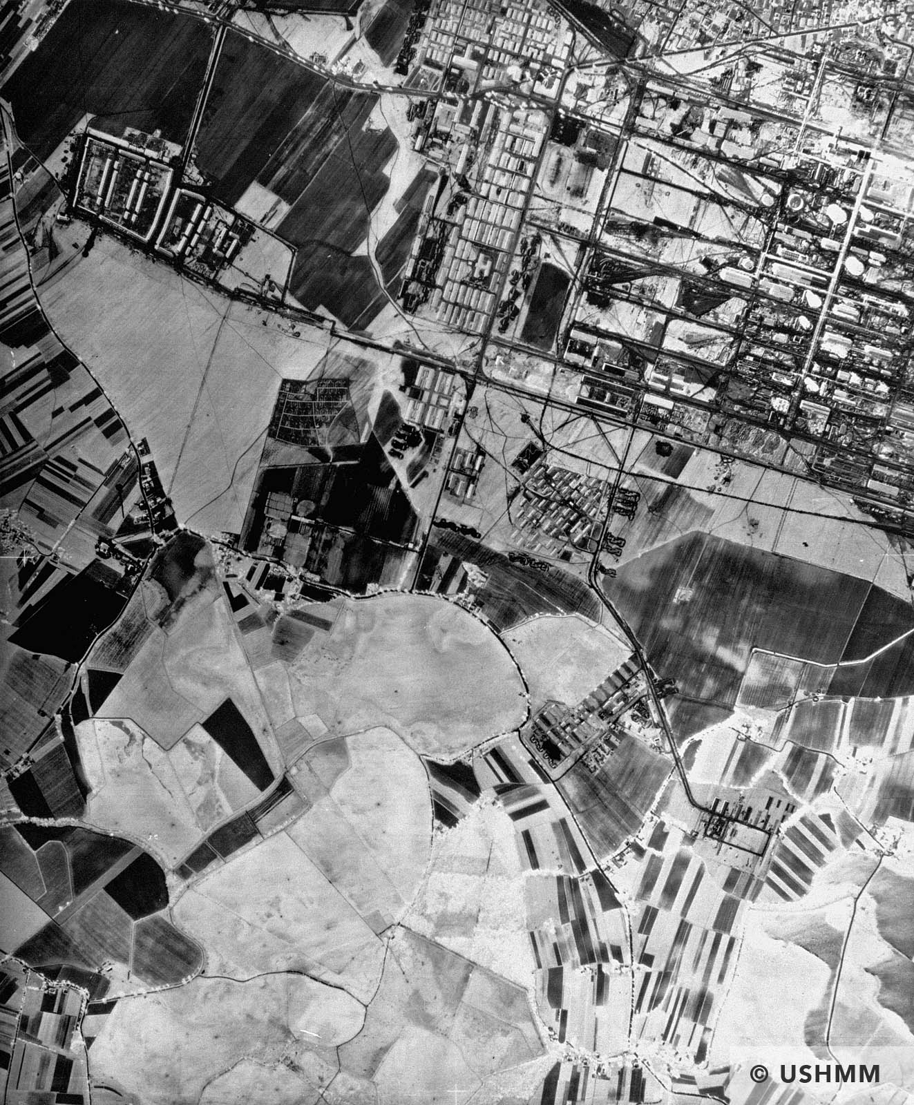An aerial reconnaissance photograph showing the I.G. Farben Buna plant at Auschwitz. April to August 1944 USHMM 04308