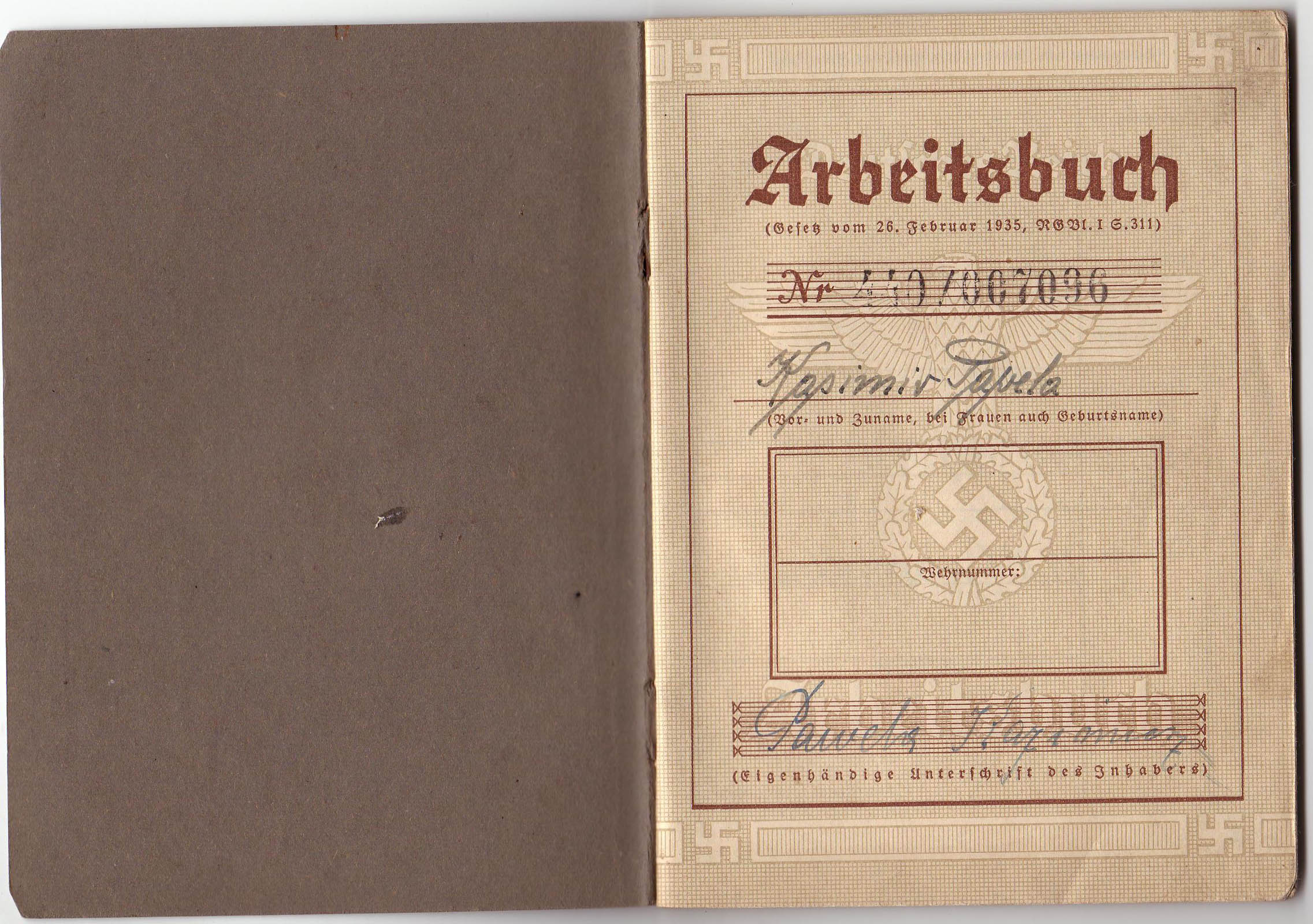 Arbeitsbuch of civilian worker from Janinagrube 2