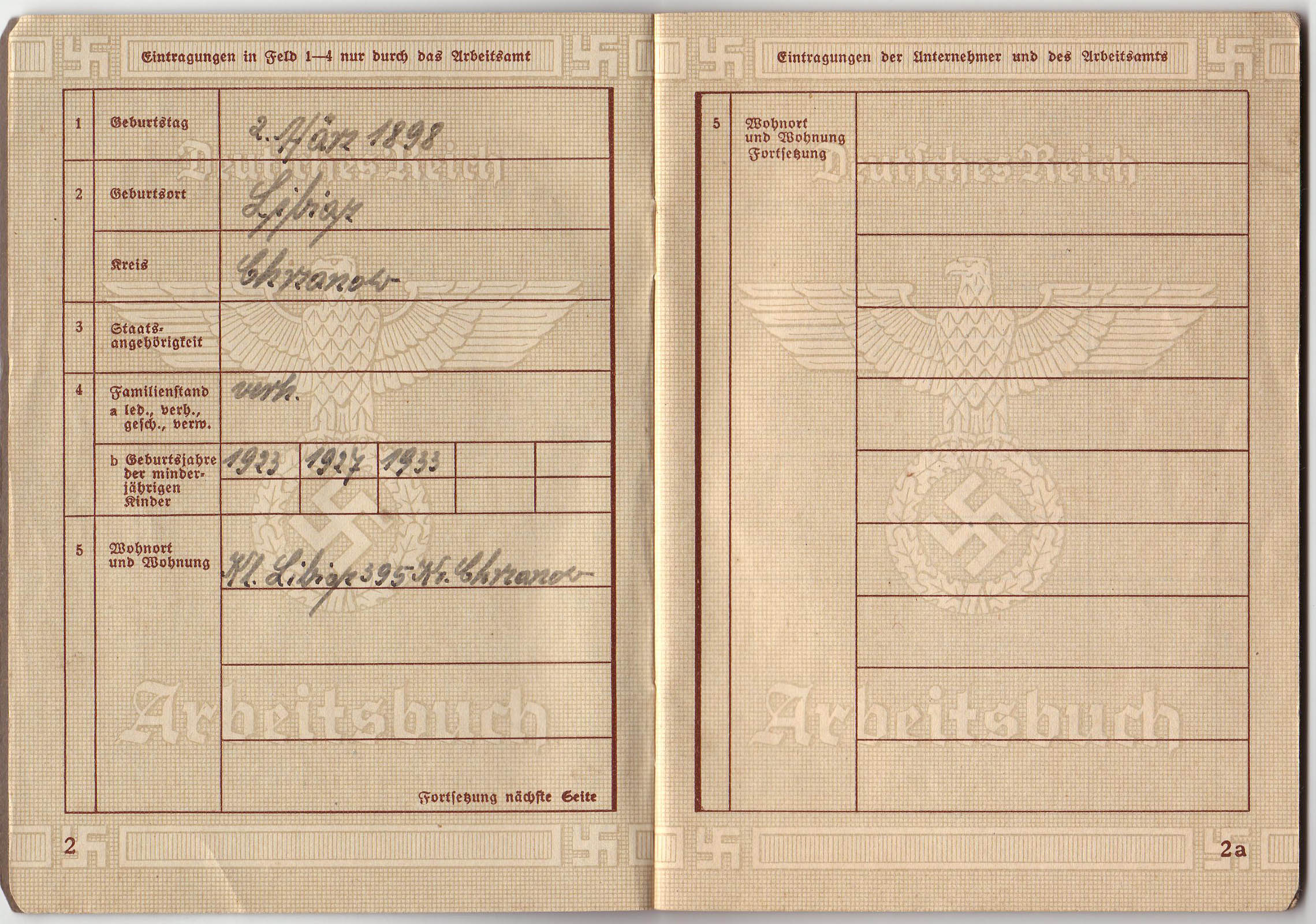 Arbeitsbuch of civilian worker from Janinagrube 3