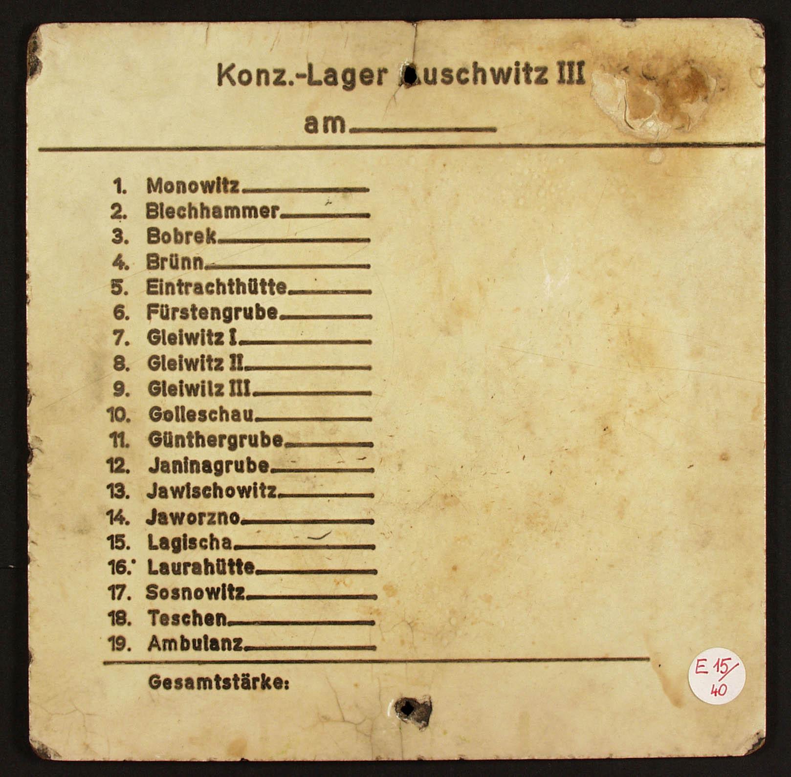 Auschwitz III Monowitz prisoner strength PMO II 4 266