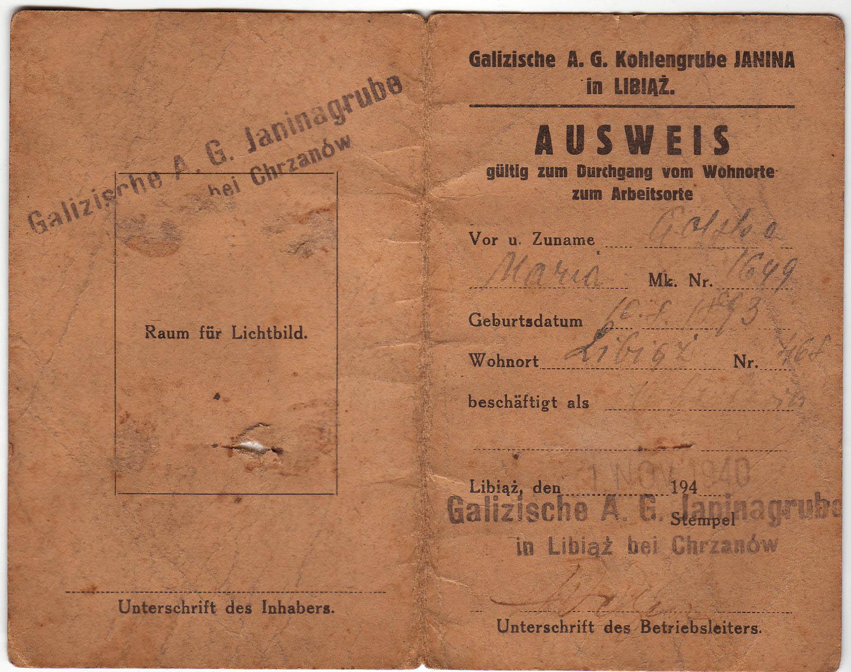 Ausweis civilian worker Janinagrube