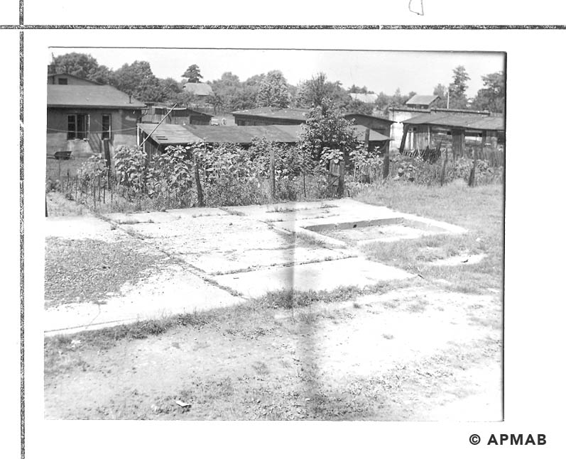 Barrack No 5 and concrete traces of the baths. 1968 APMAB 14339