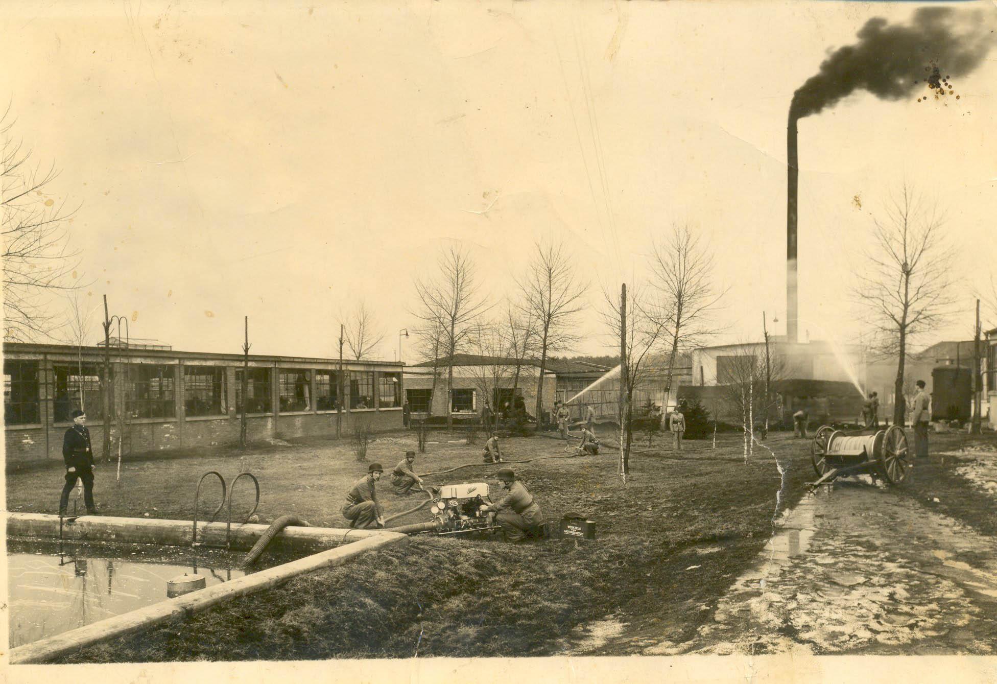 Bata factory. War time chimney fire. Tomasz Batta Memorial House