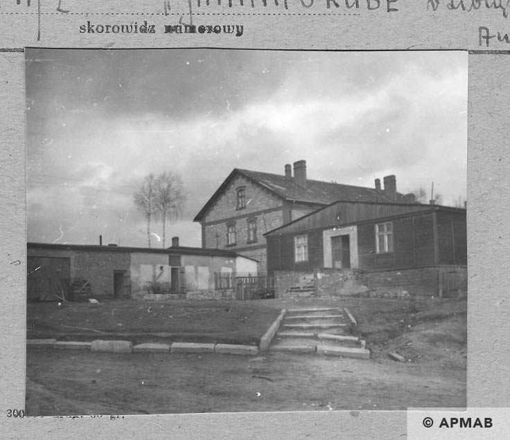 Brick barrack laundry and baths, wooden barrack was built after the war. 1959 APMAB 4379