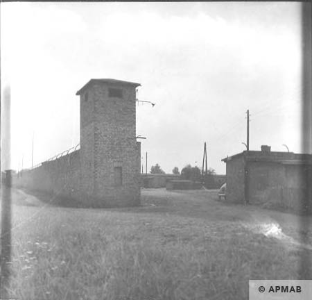 Corner guard tower next to main gate and fragment of fence. 1963 APMAB 5669