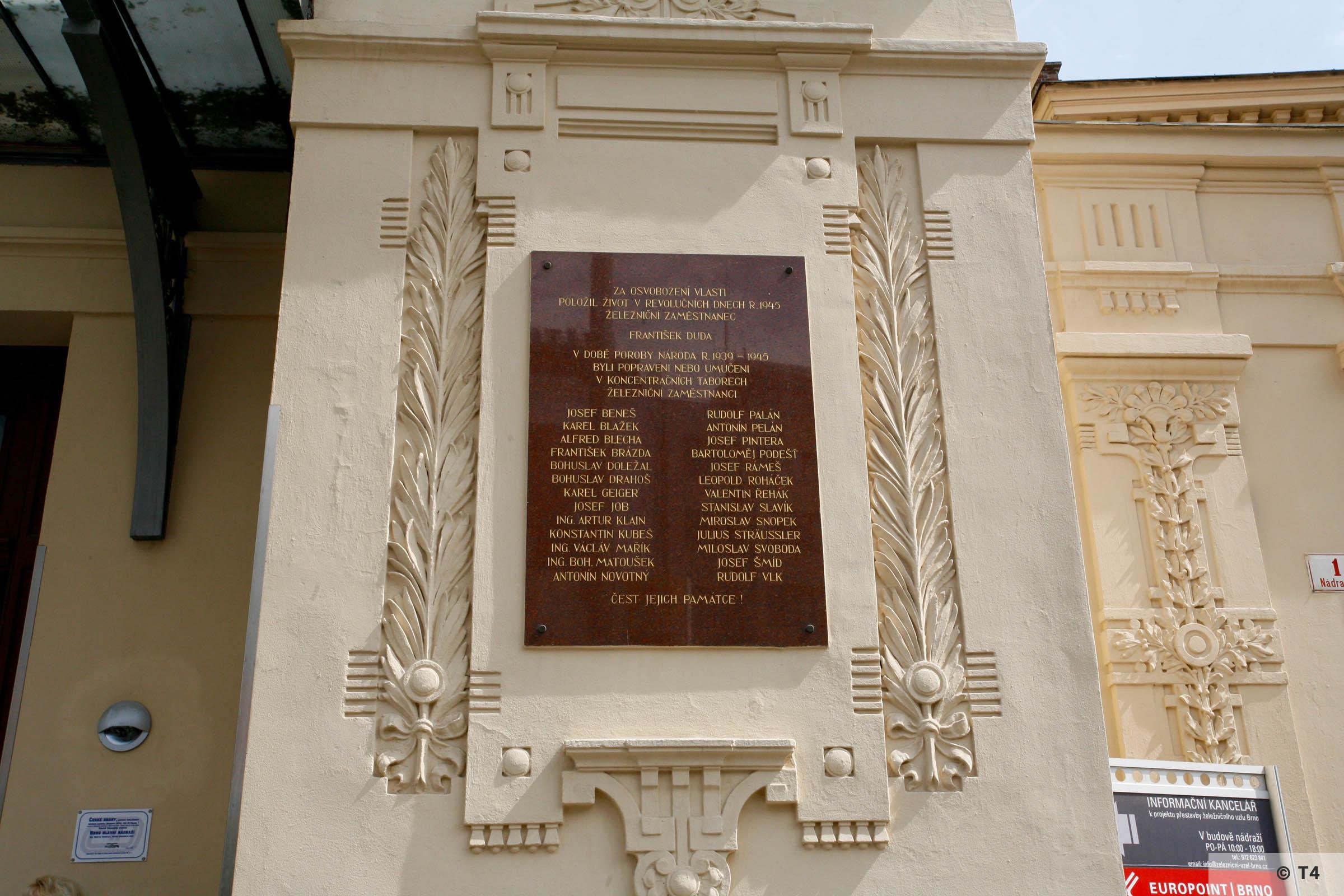 Czech war memorial at Brno railway station. 2006 T4 5771