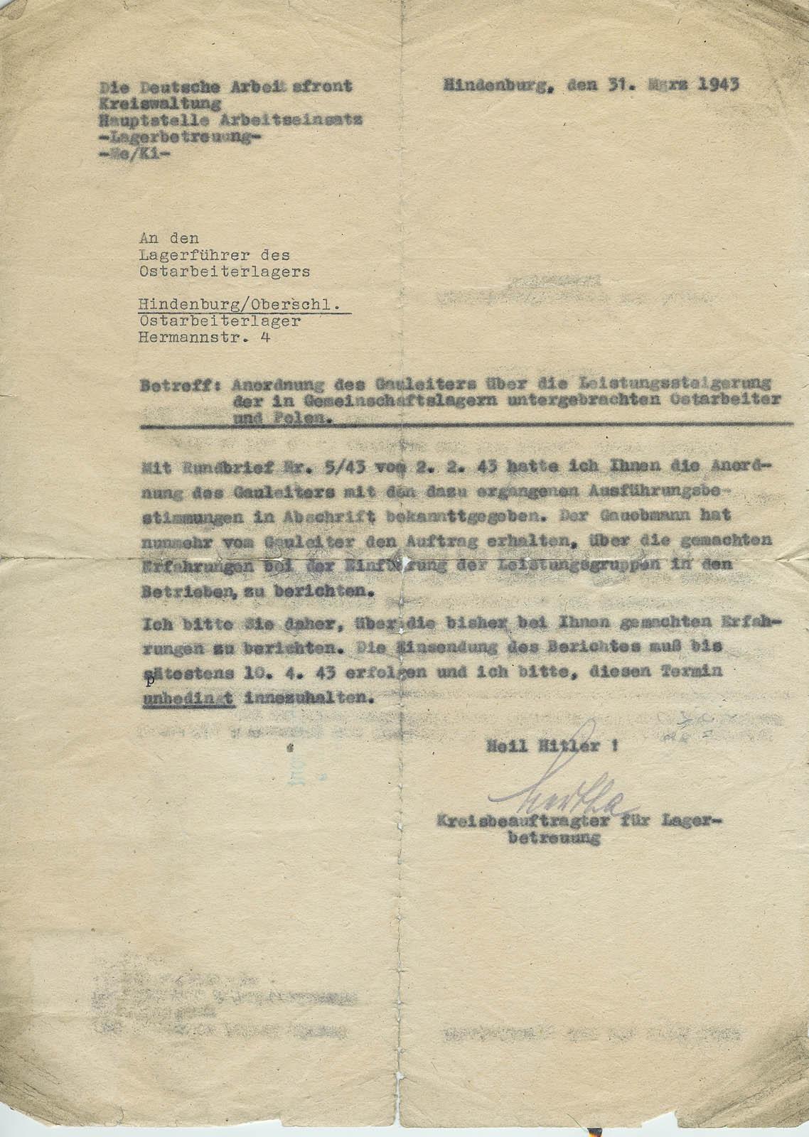 Deutsche Arbeitsfront letter