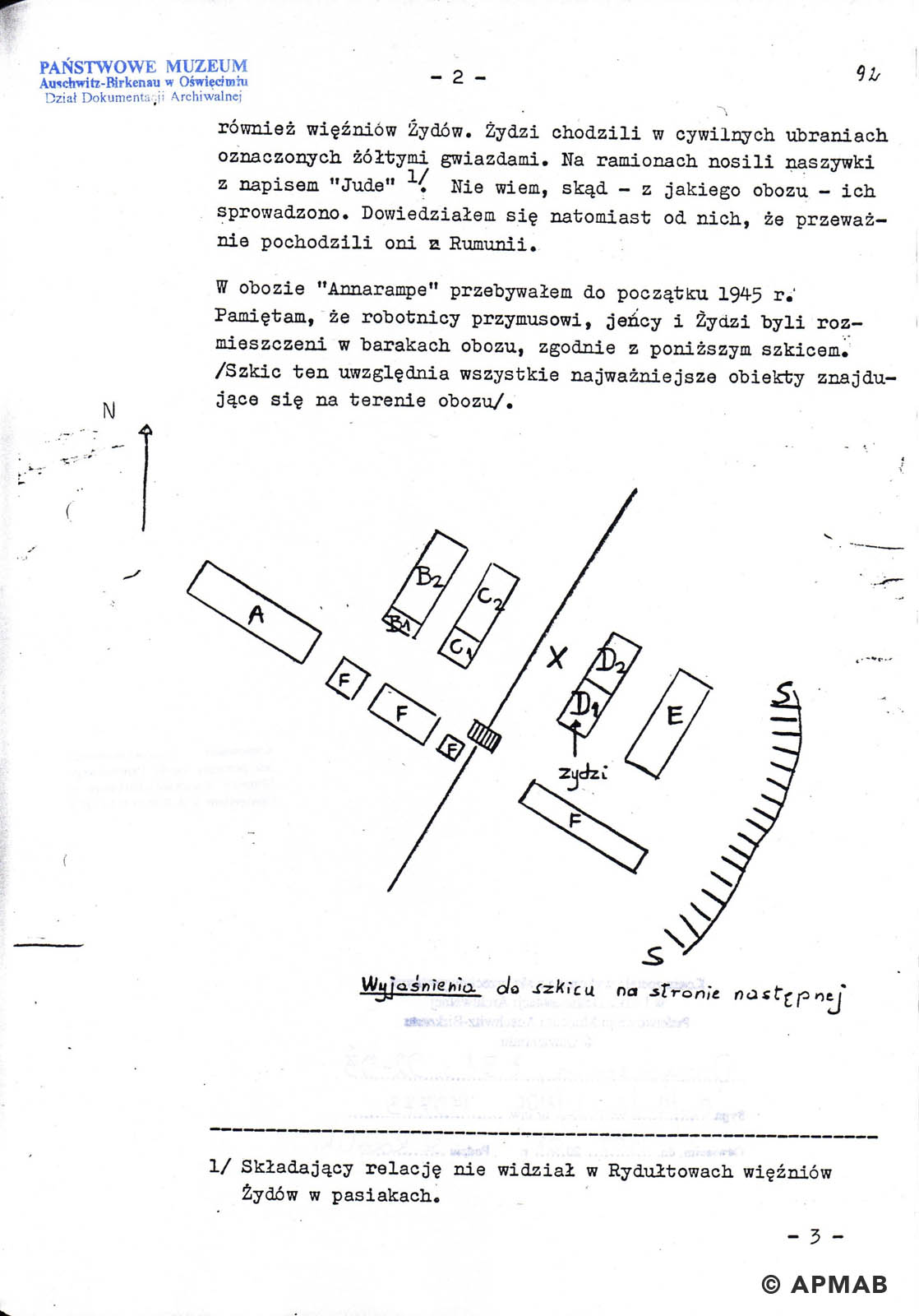 Drawing of Annarampe camp by former prisoner A. APMAB