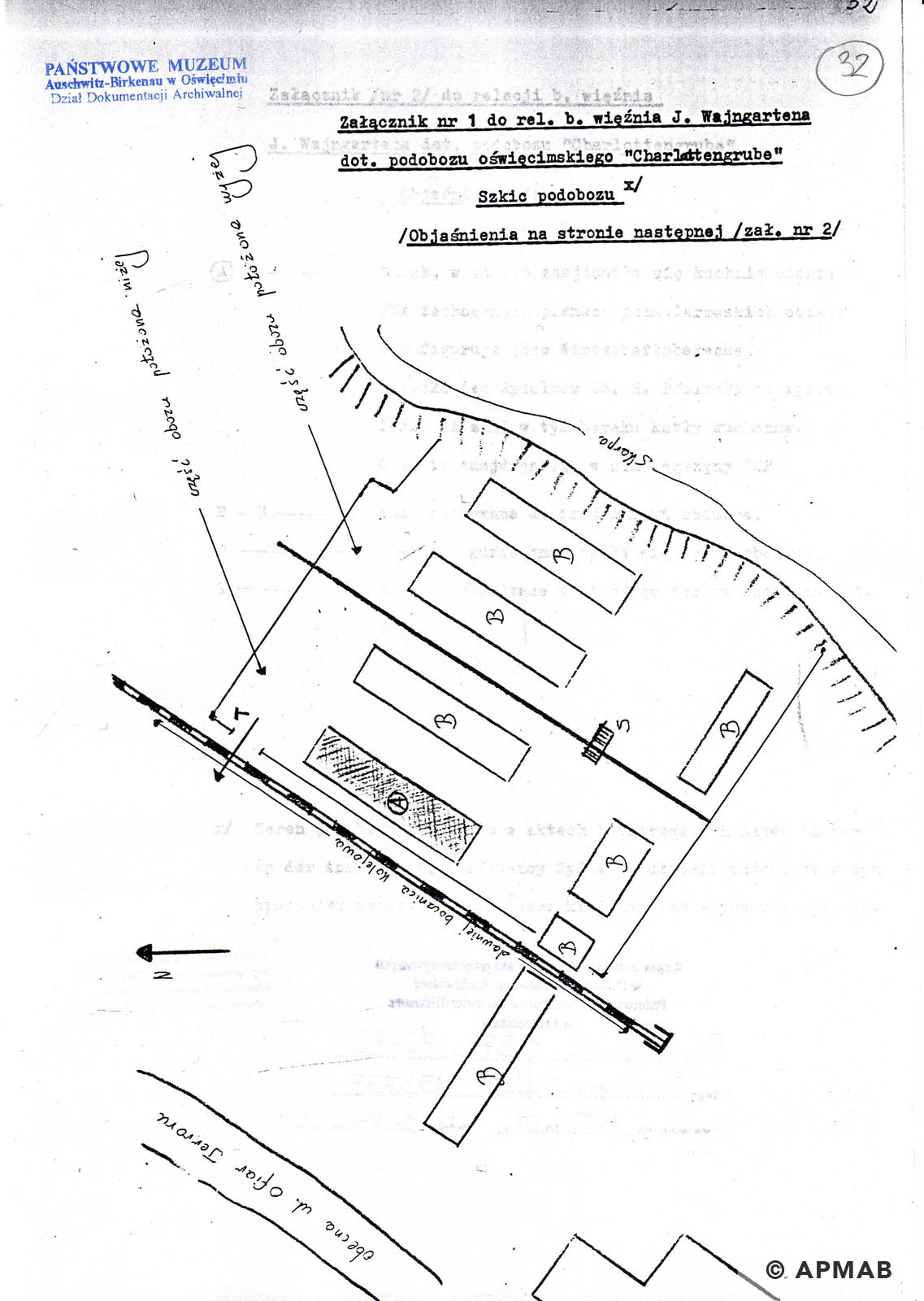 Drawing of Annarampe camp by former prisoner B. APMAB