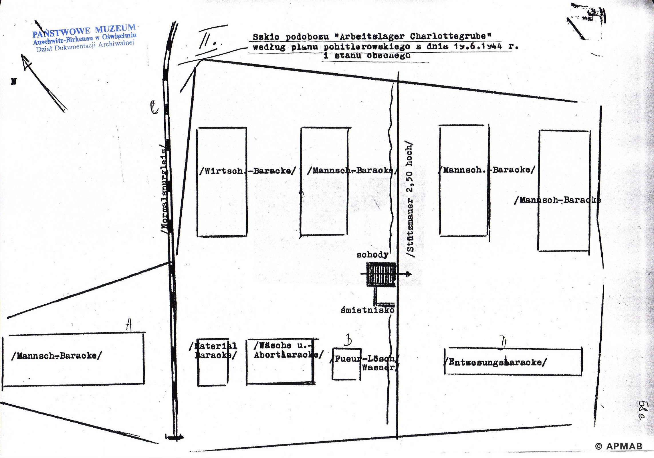 Drawing of Annarampe camp by former prisoner. F APMAB