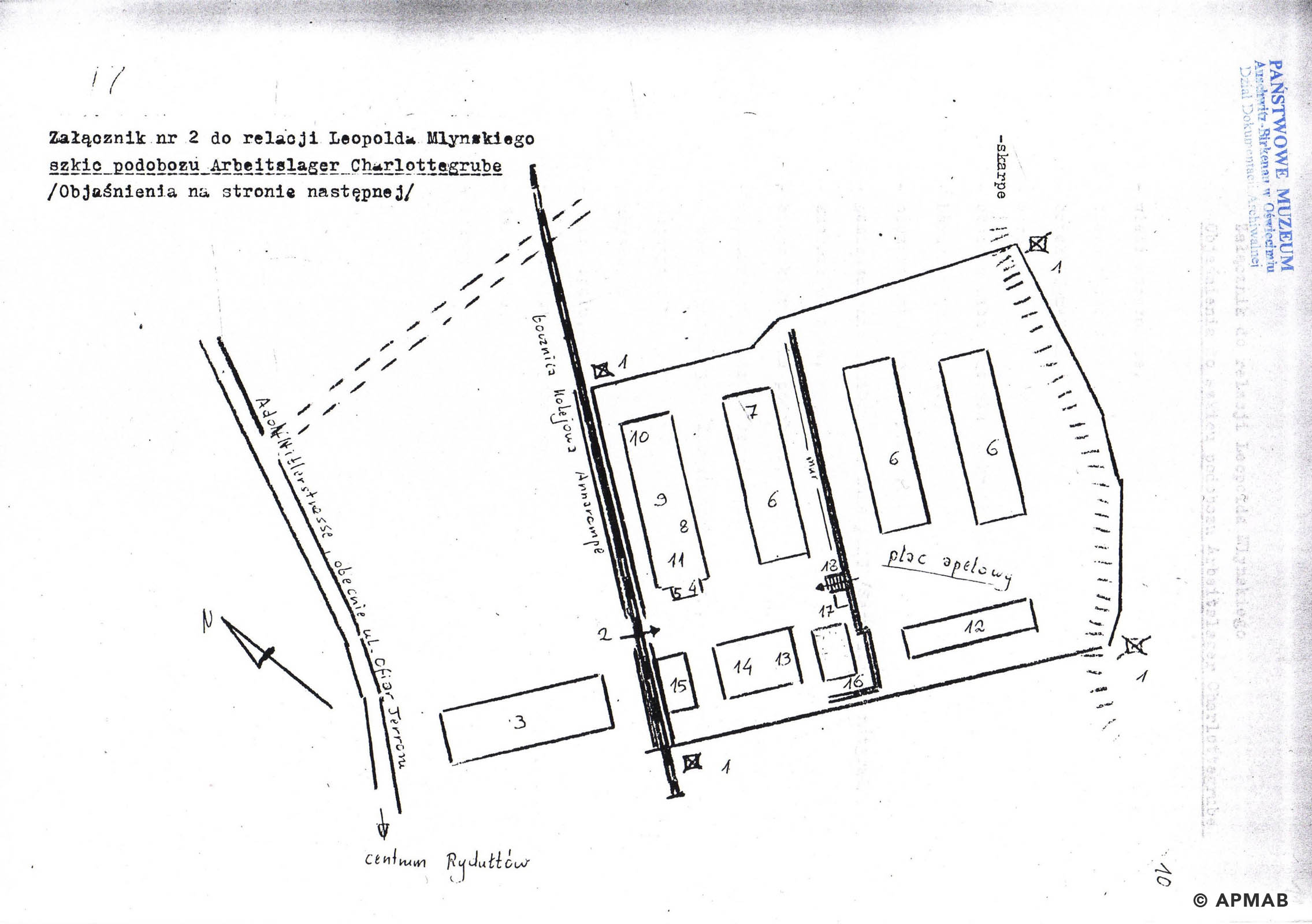 Drawing of Annarampe camp by former prisoner. H APMAB