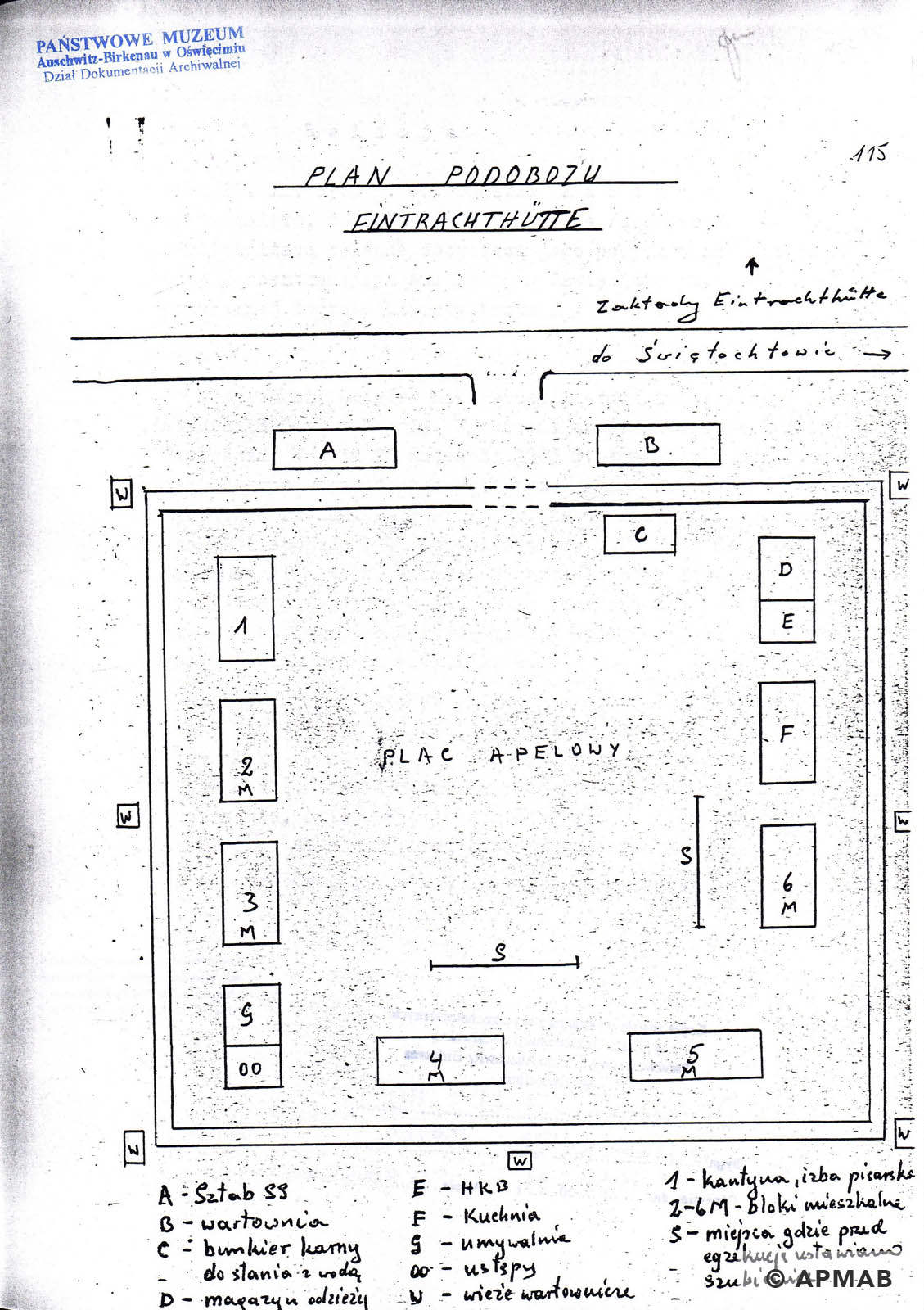 Drawing of Eintrachthütte sub camp by fomer prisoner D APMAB