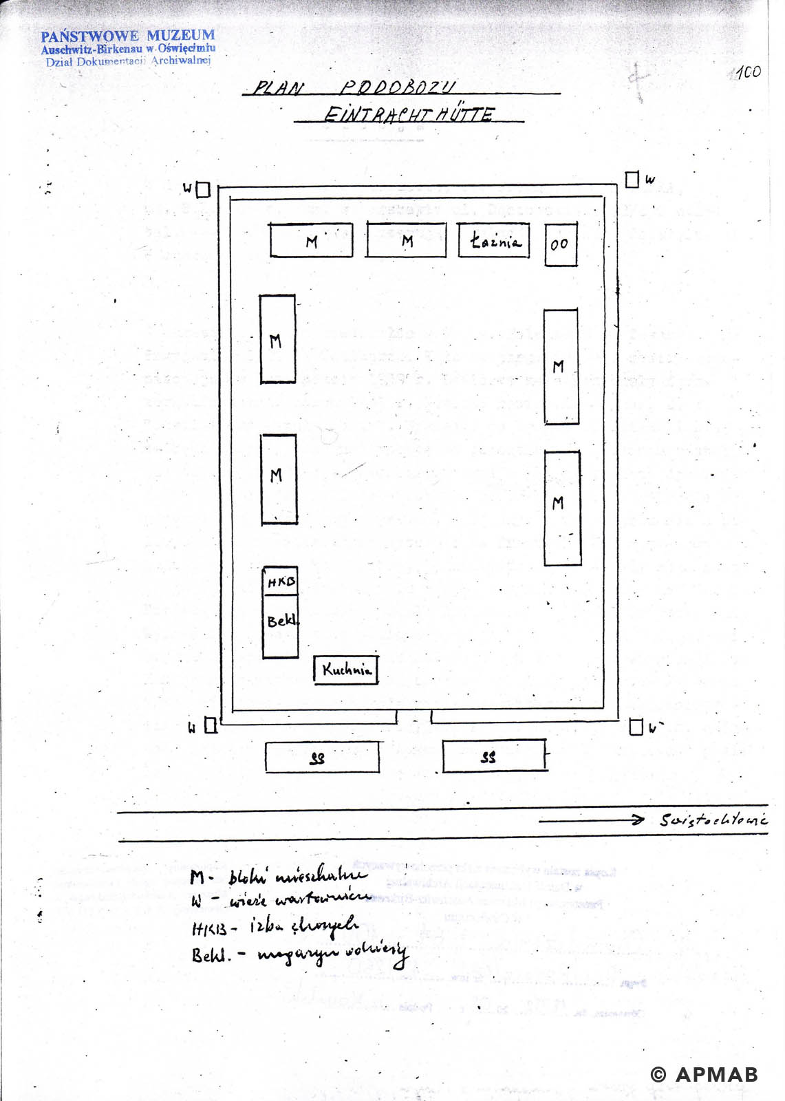 Drawing of Eintrachthütte sub camp by fomer prisoner E APMAB jpg