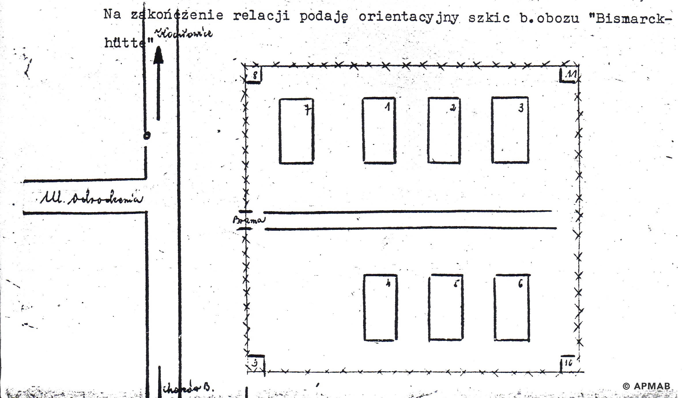 Drawing of former sub camp Bismarckhütte by former prisoner Alojzy Giemza 1. APMAB