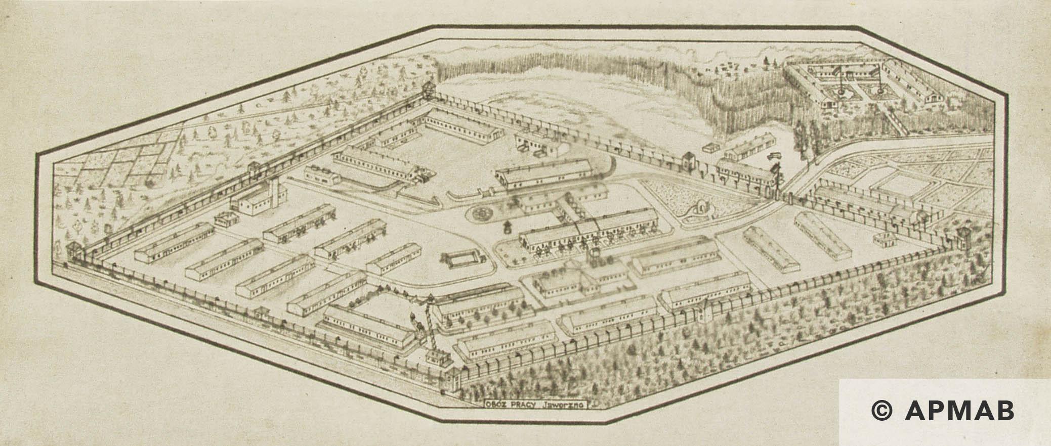 Drawing of sub camp Neu-Dachs. APMAB