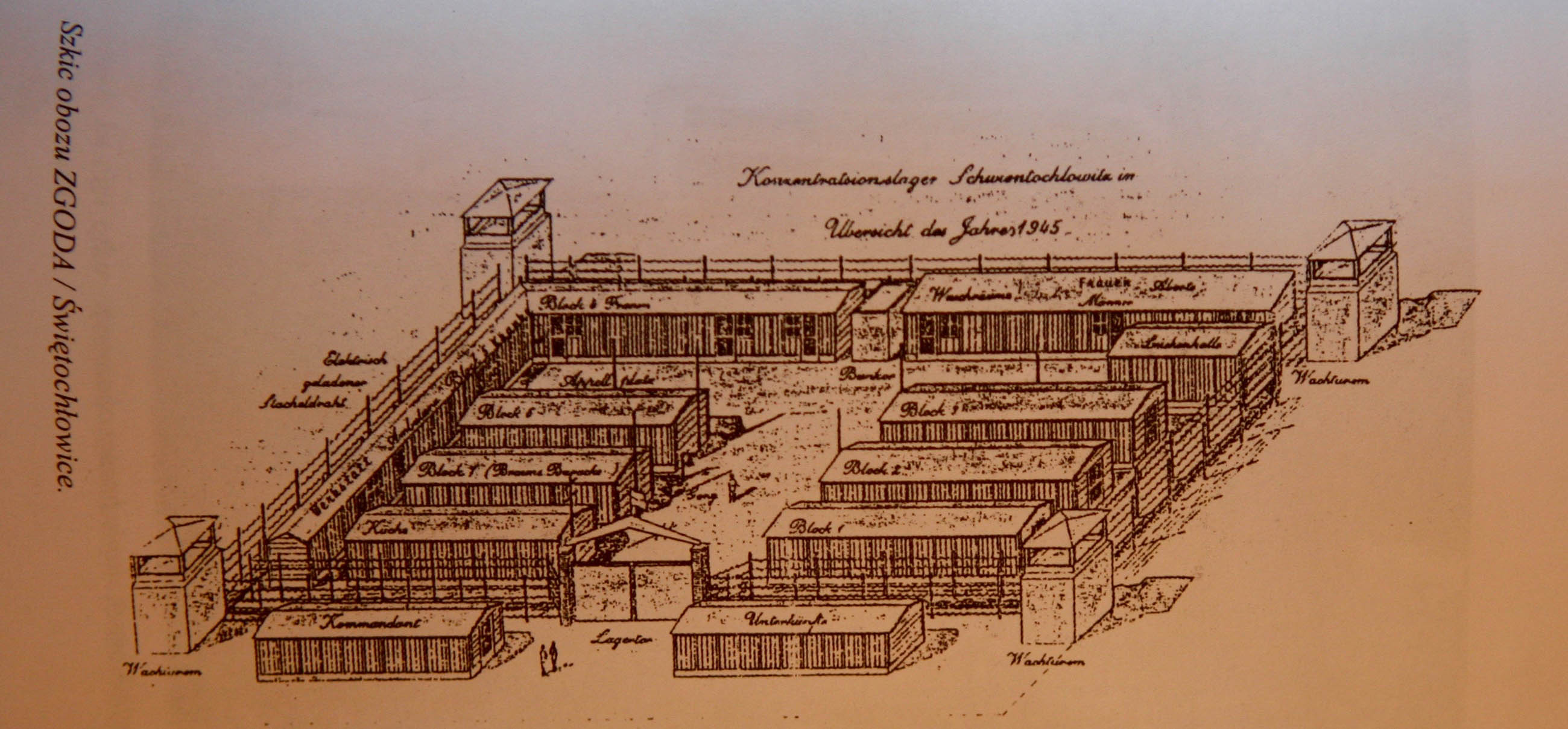 Drawing of the sub camp Eintrachthütte. Zgoda Miejsce Grozy. 4678
