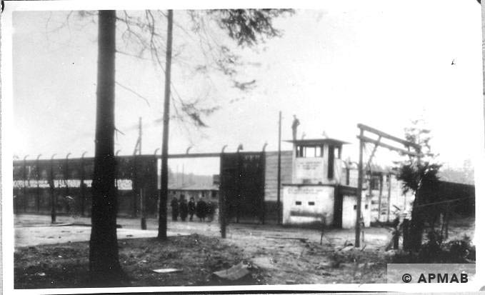 Fence, guardhouse, and main entrance. 1946 APMAB 10764