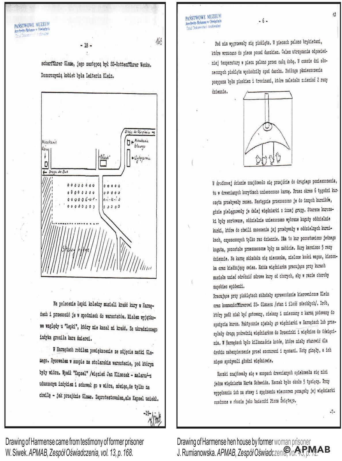 Former Prisoner drawings of Harmense sub camp. APMAB
