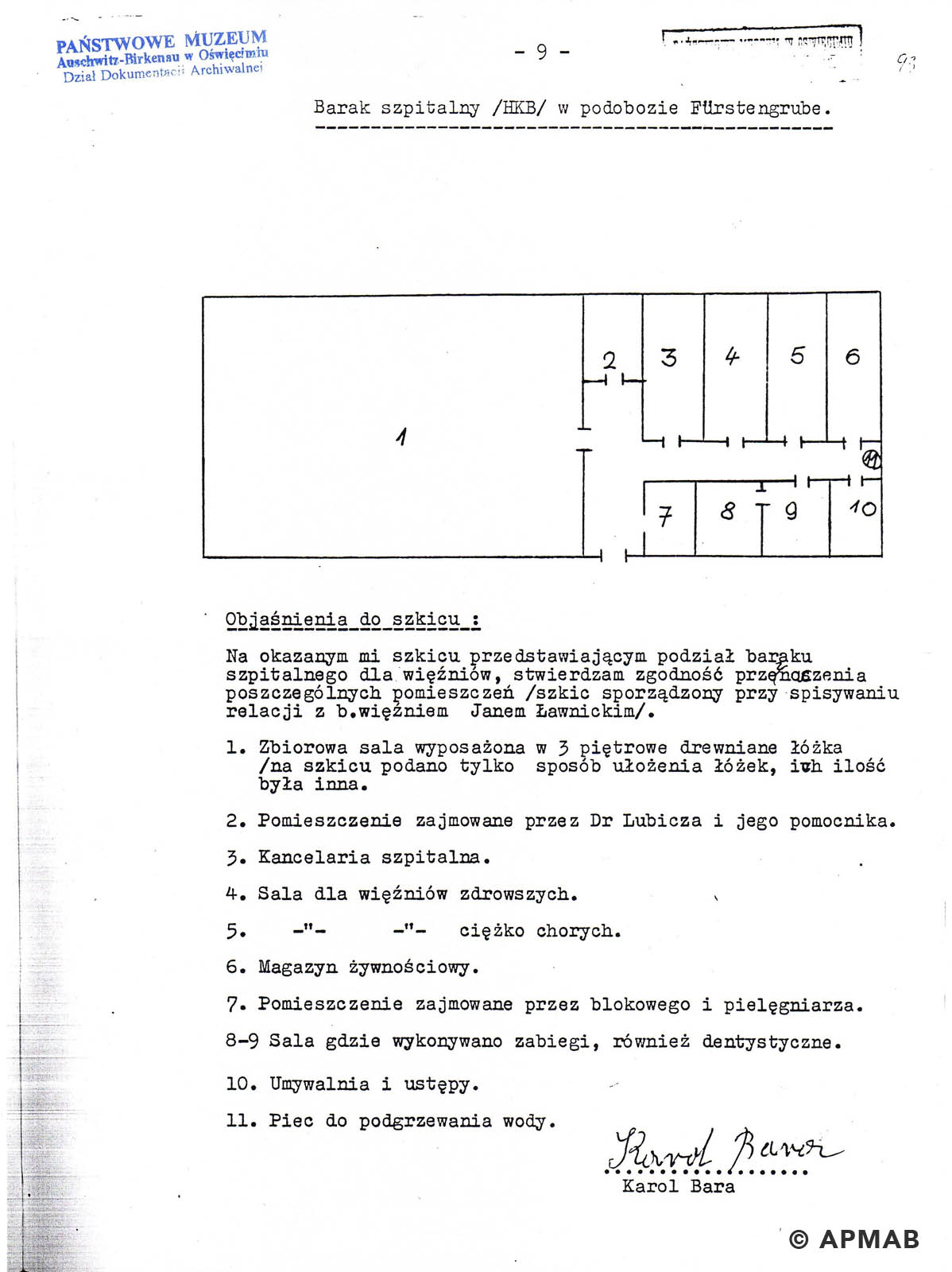 Former prisoner drawing of Fürstengrube sub camp hospital barracks. APMAB