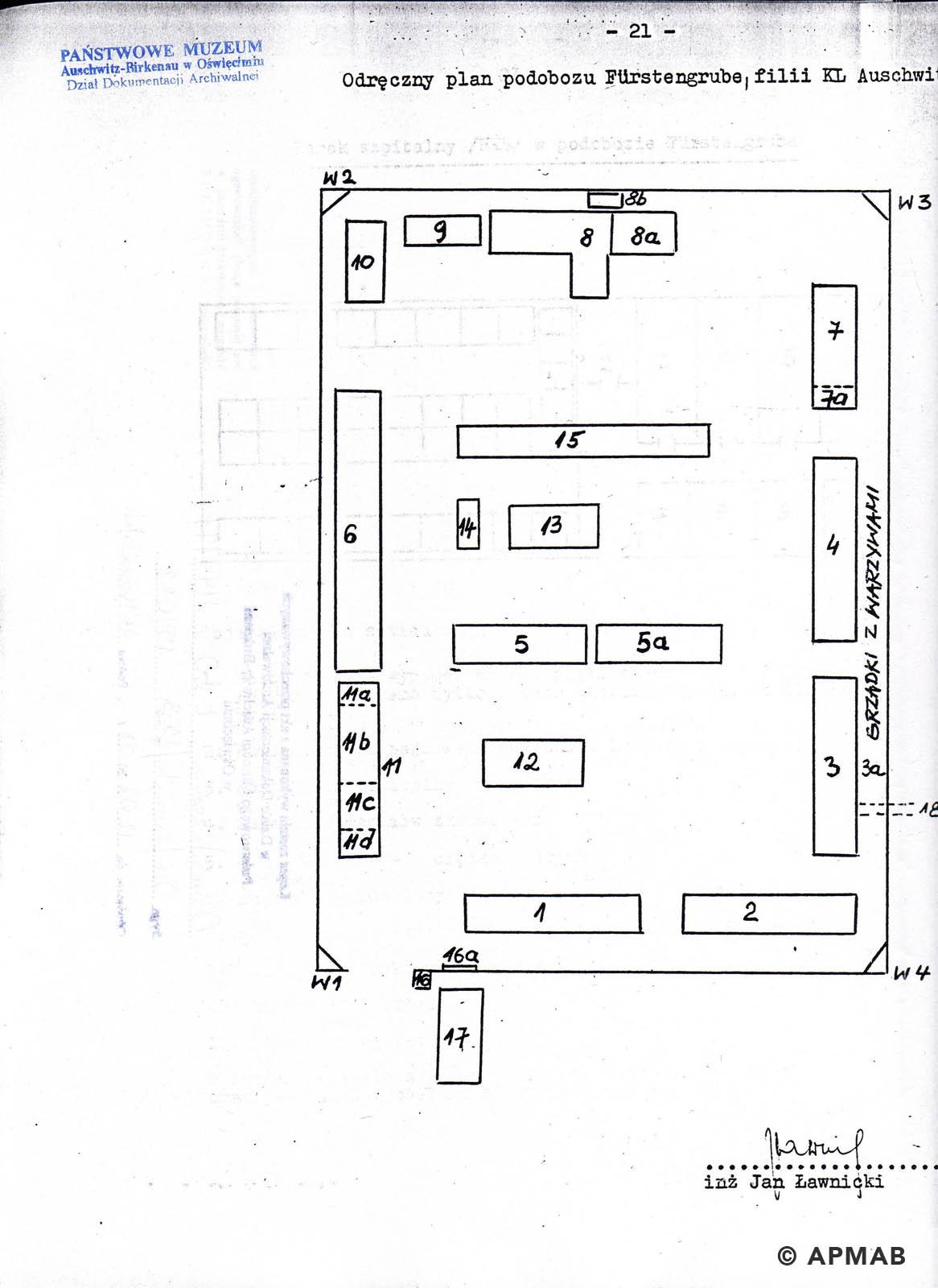 Former prisoner drawing of Fürstengrube sub camp. A. APMAB