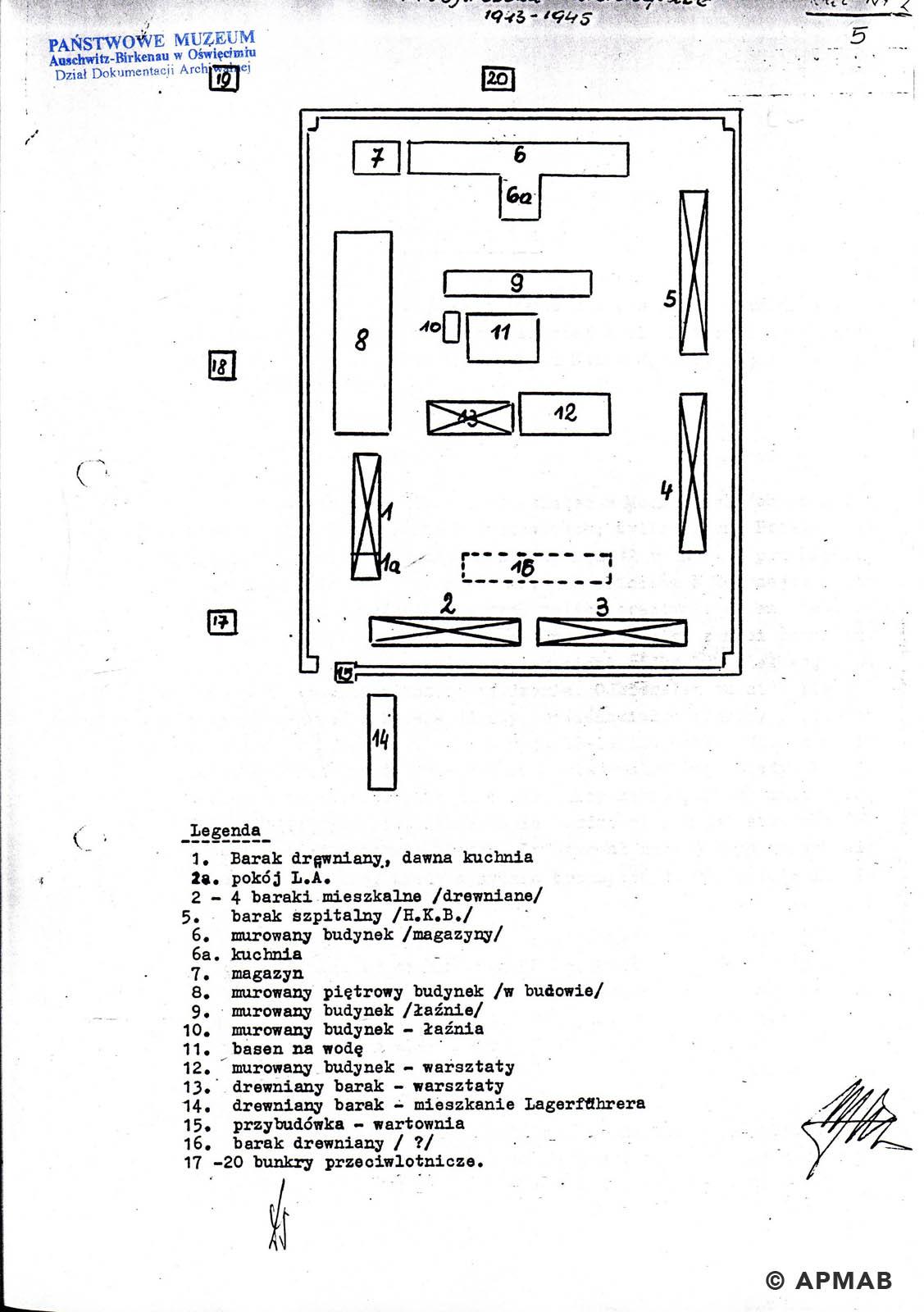 Former prisoner drawing of Fürstengrube sub camp. B. APMAB