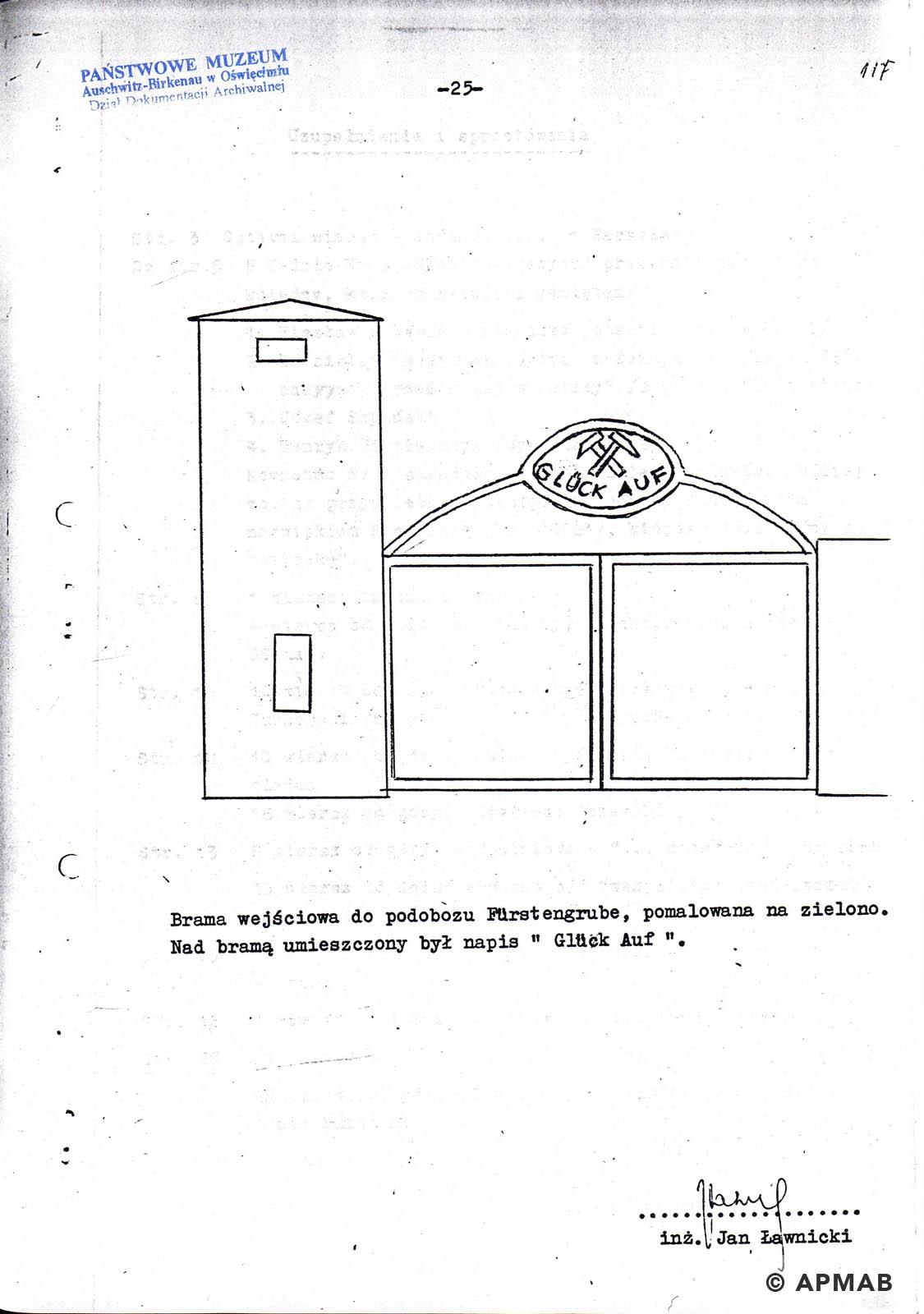 Former prisoner drawing of Fürstengrube sub camp. C. APMAB