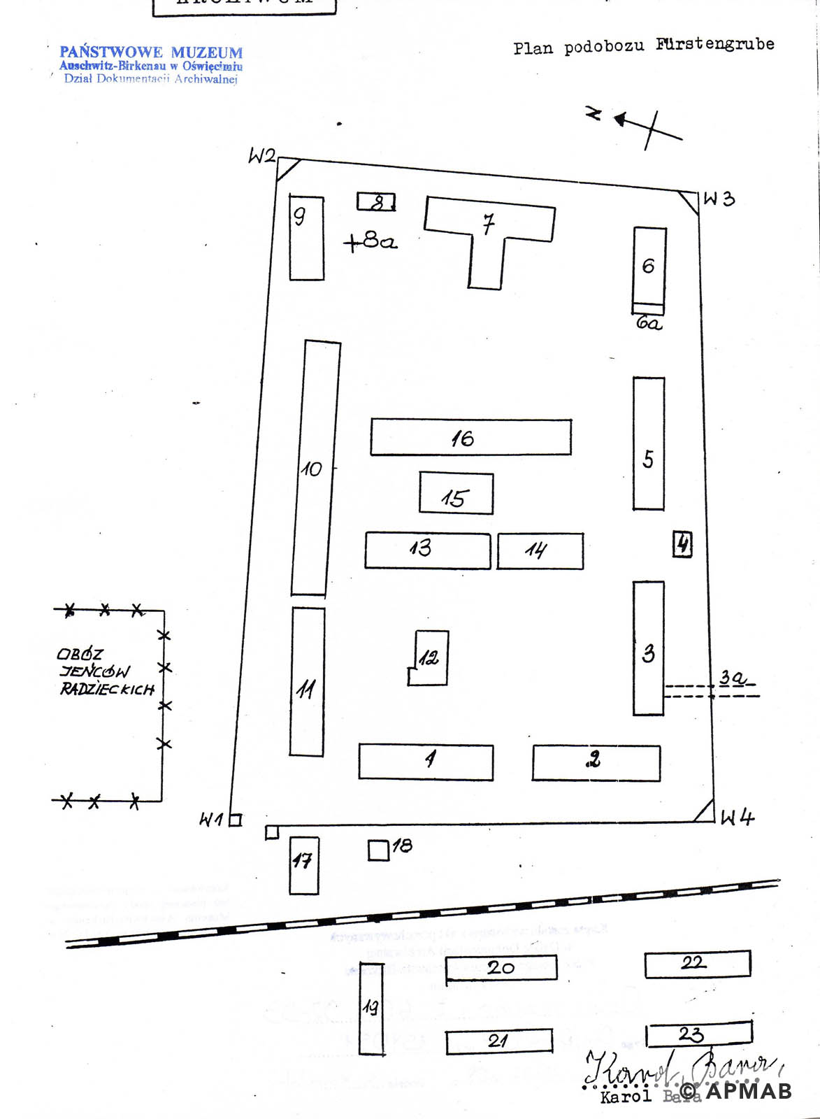 Former prisoner drawing of Fürstengrube sub camp. D. APMAB