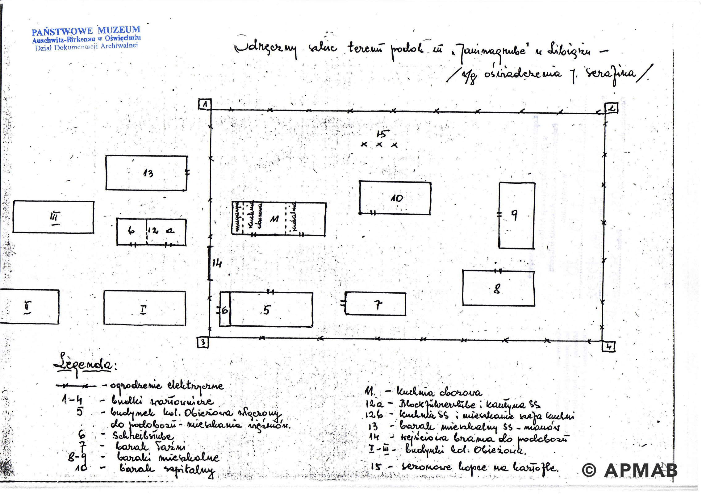 Former prisoner drawing of Janinagrube sub camp. A APMAB