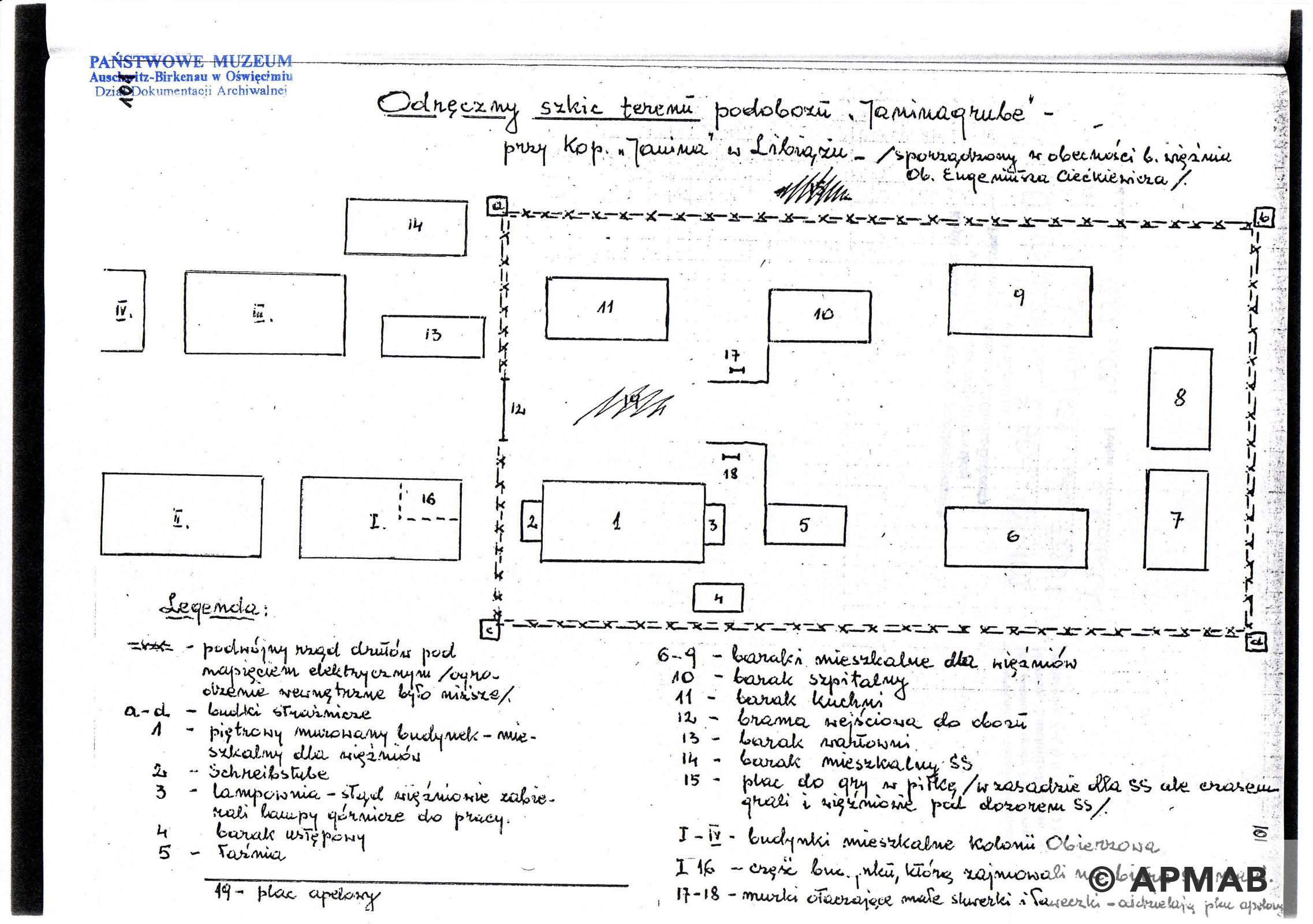 Former prisoner drawing of Janinagrube sub camp. B APMAB