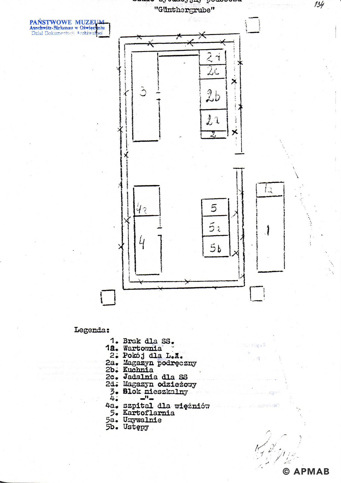 Former prisoner drawing of Lager Günther III. A APMAB