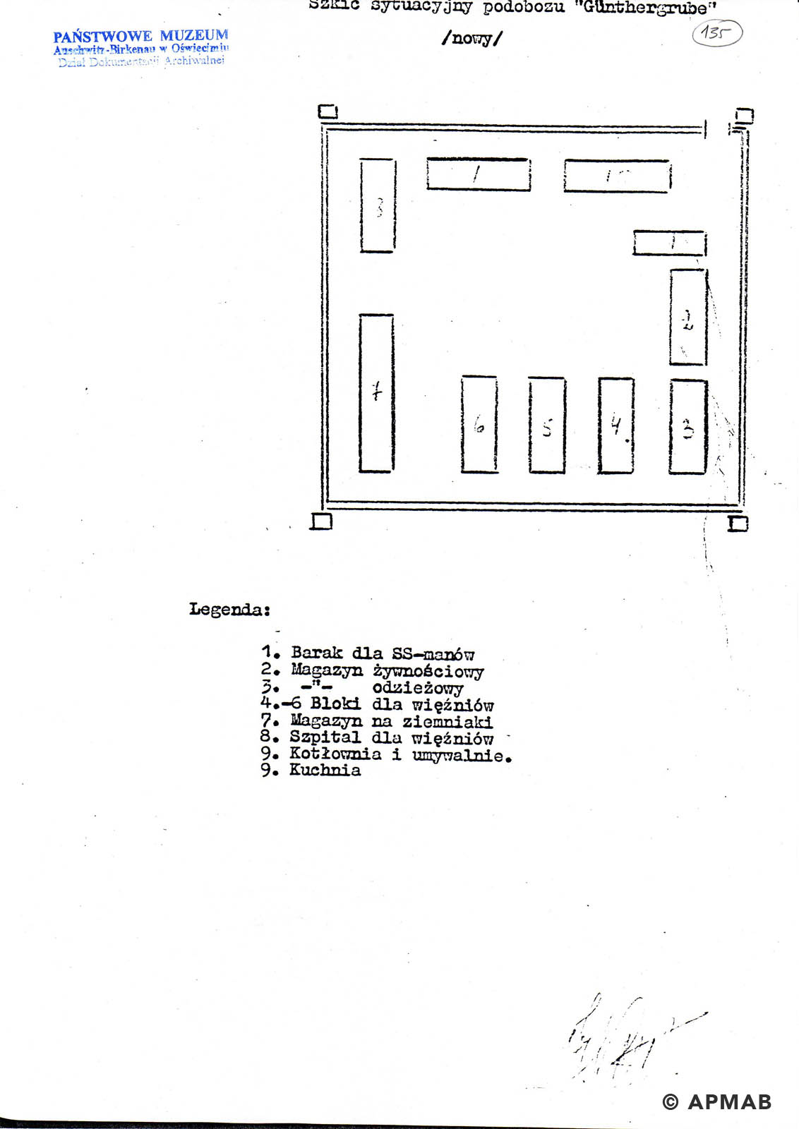Former prisoner drawing of Lager Günther III. C APMAB