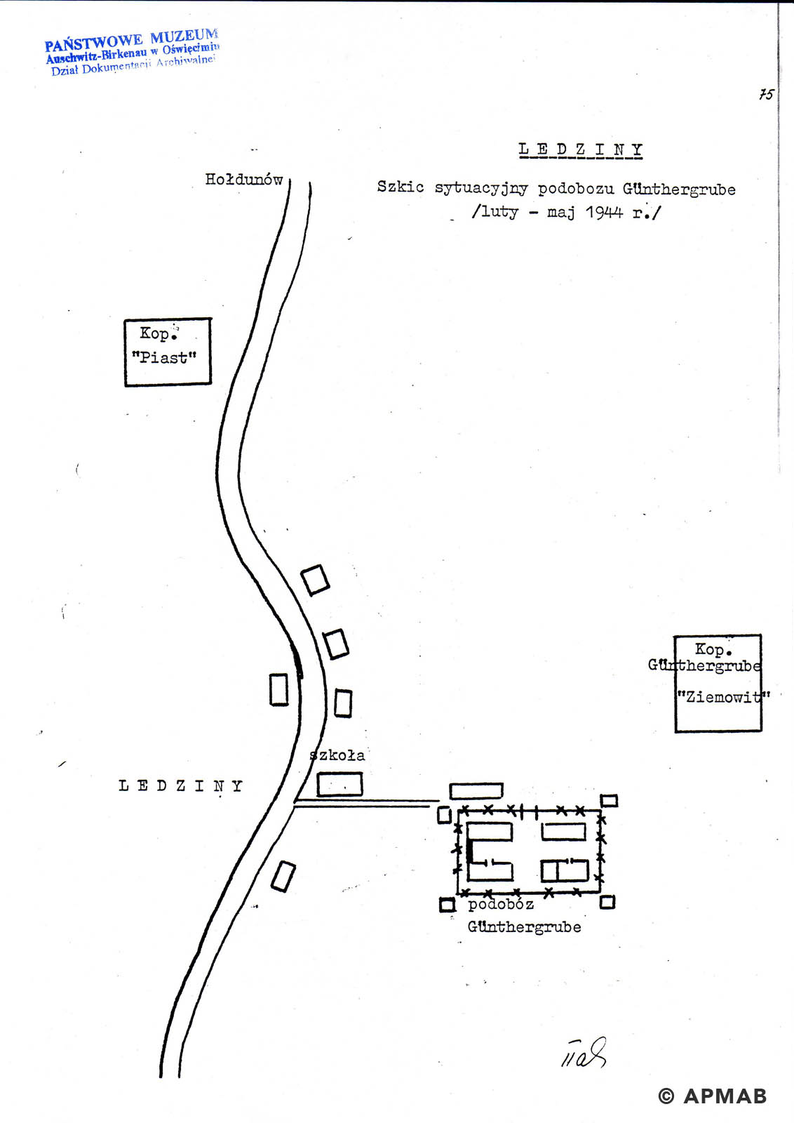 Former prisoner drawing of Lager Heimat. APMAB