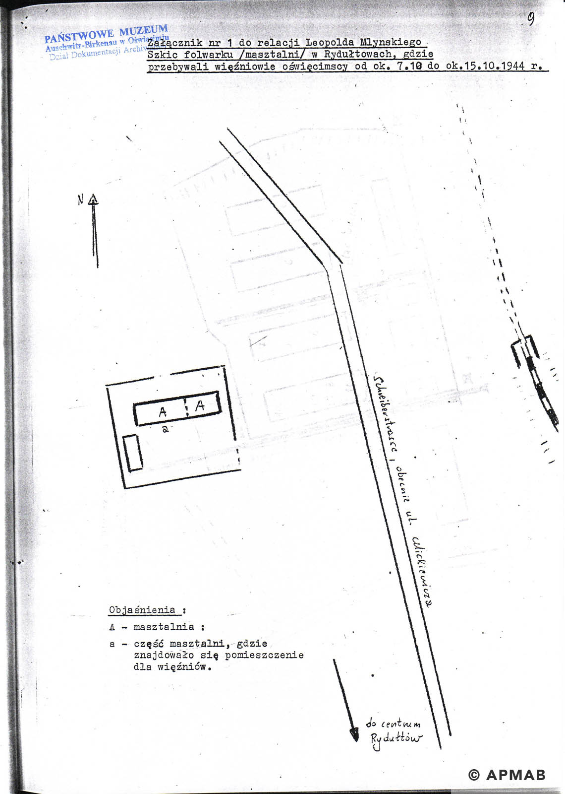 Former prisoner drawing of Radostowitz sub camp. APMAB