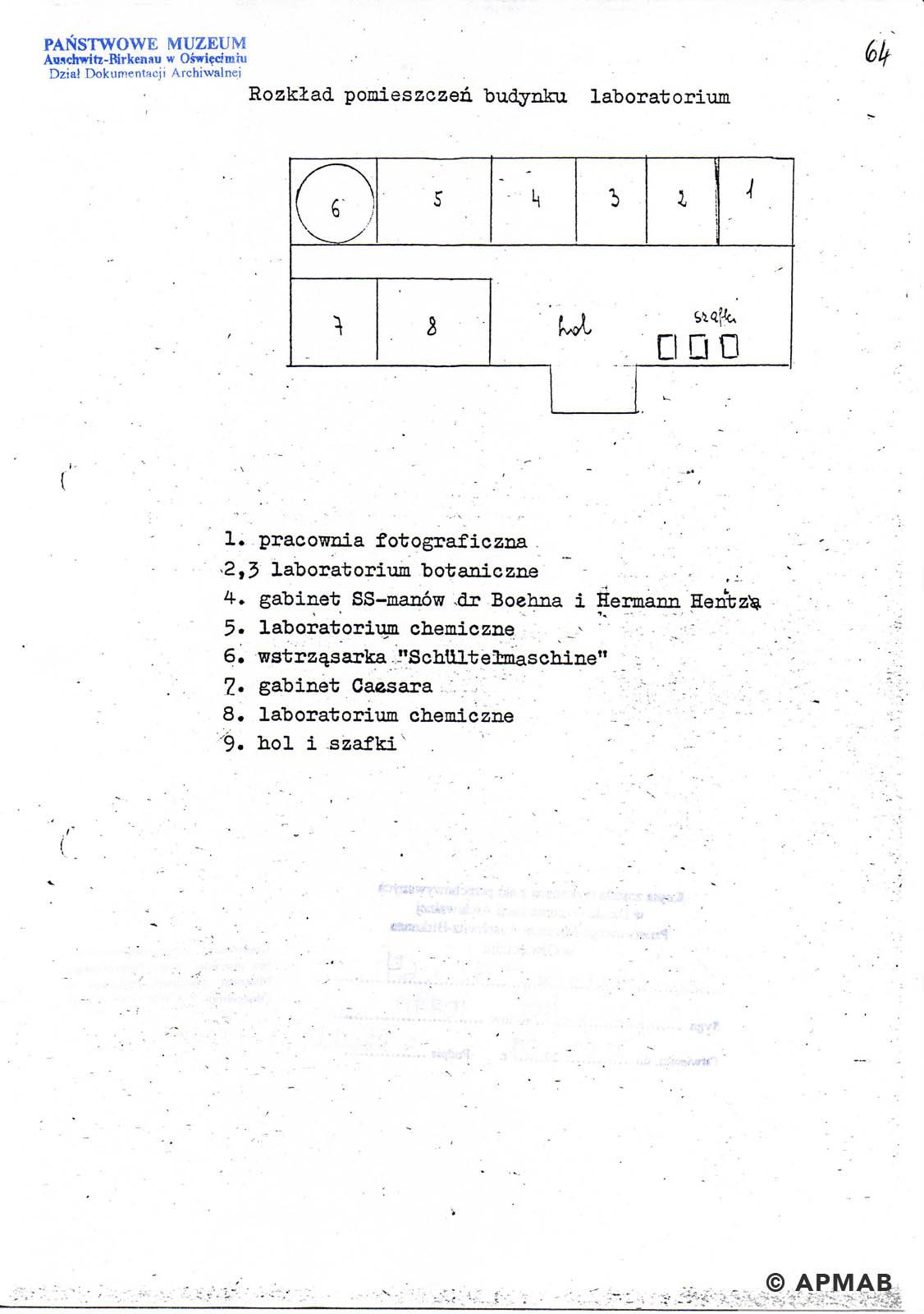Former prisoner drawing of Raisko laboratory. A APMAB