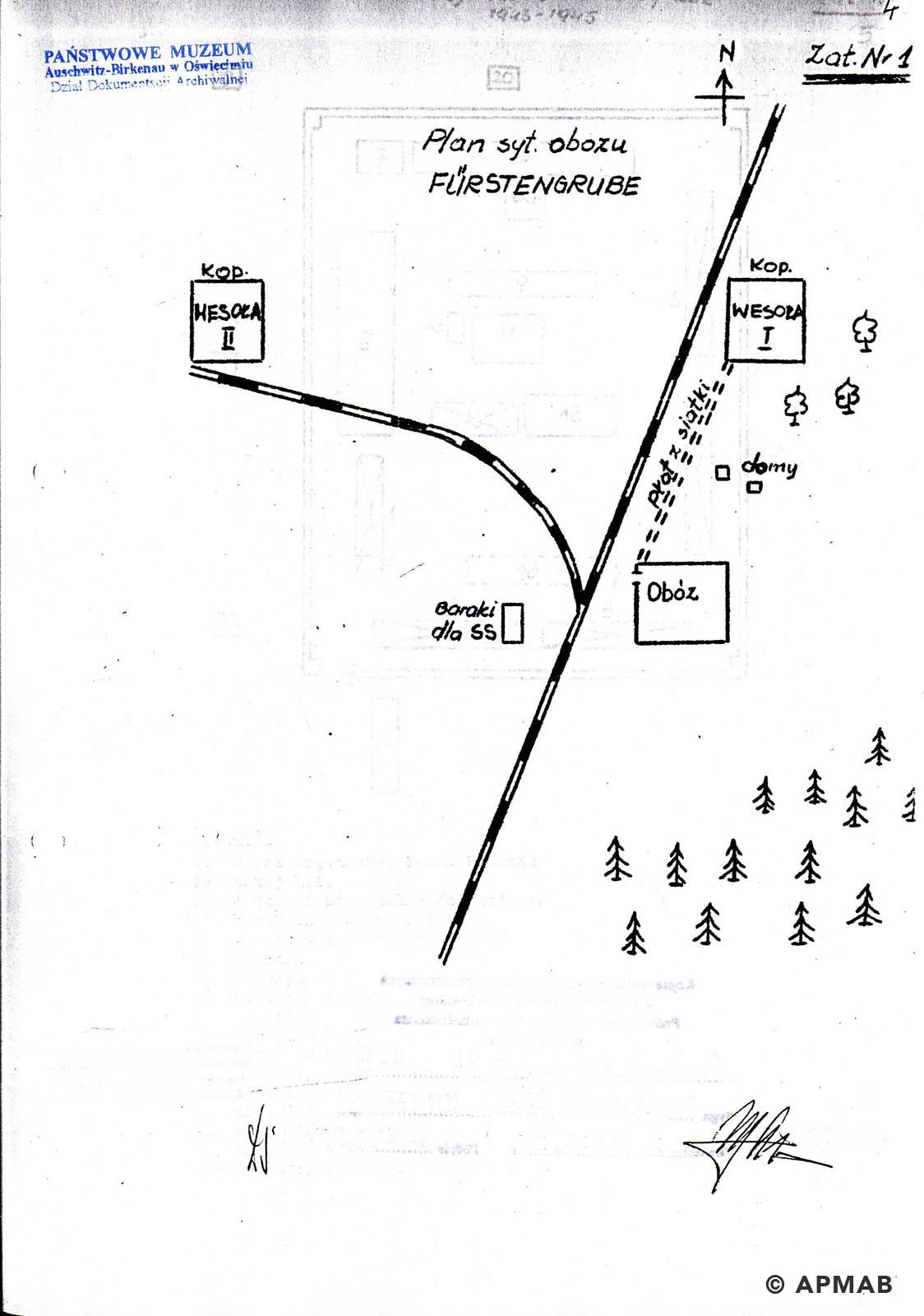 Former prisoner drawing of mine shafts in Wesola. APMAB