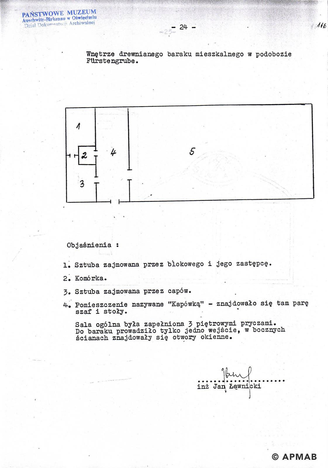 Former prisoner drawing of prisoner accomodation barrack in Fürstengrube sub camp. APMAB