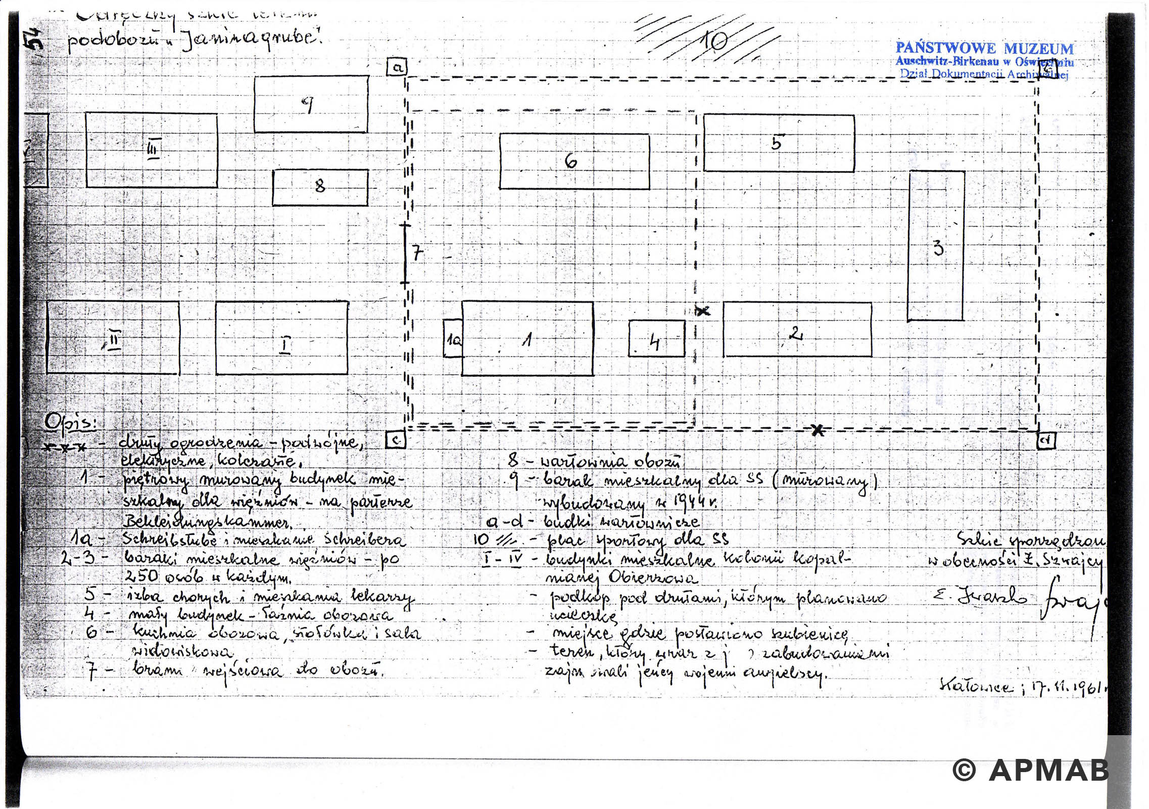Former prisoner drawing of sub camp Janinagrube. C APMAB