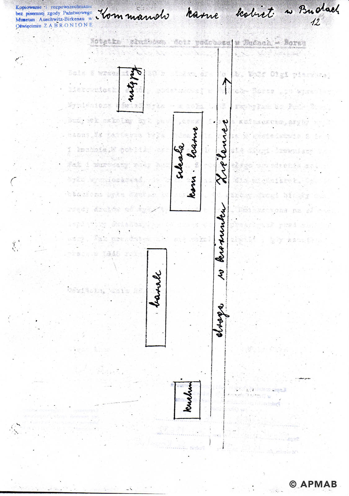 Former prisoner drawing of sub camp Kobior. APMAB A