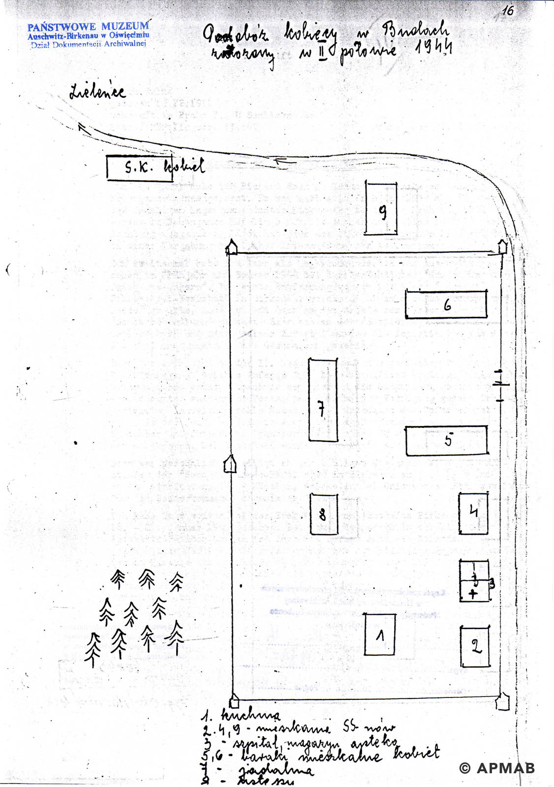 Former prisoner drawing of sub camp Kobior. APMAB B