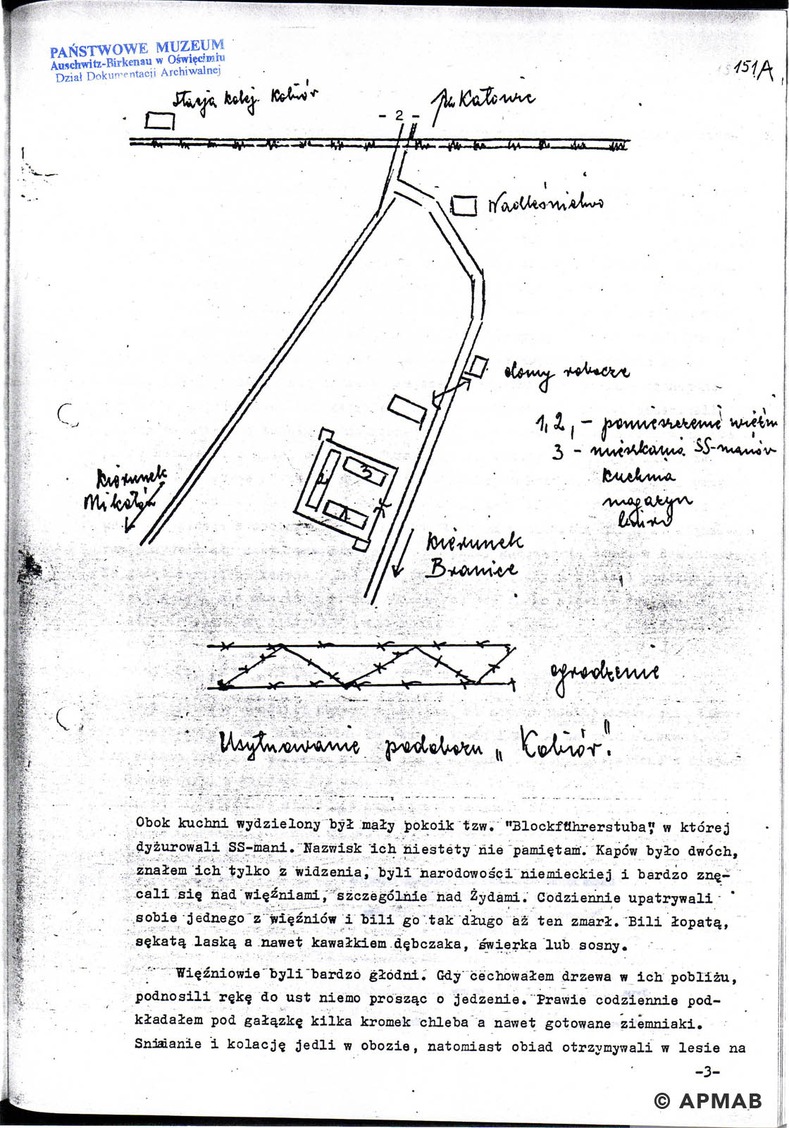 Former prisoner drawing of sub camp Kobior. APMAB D