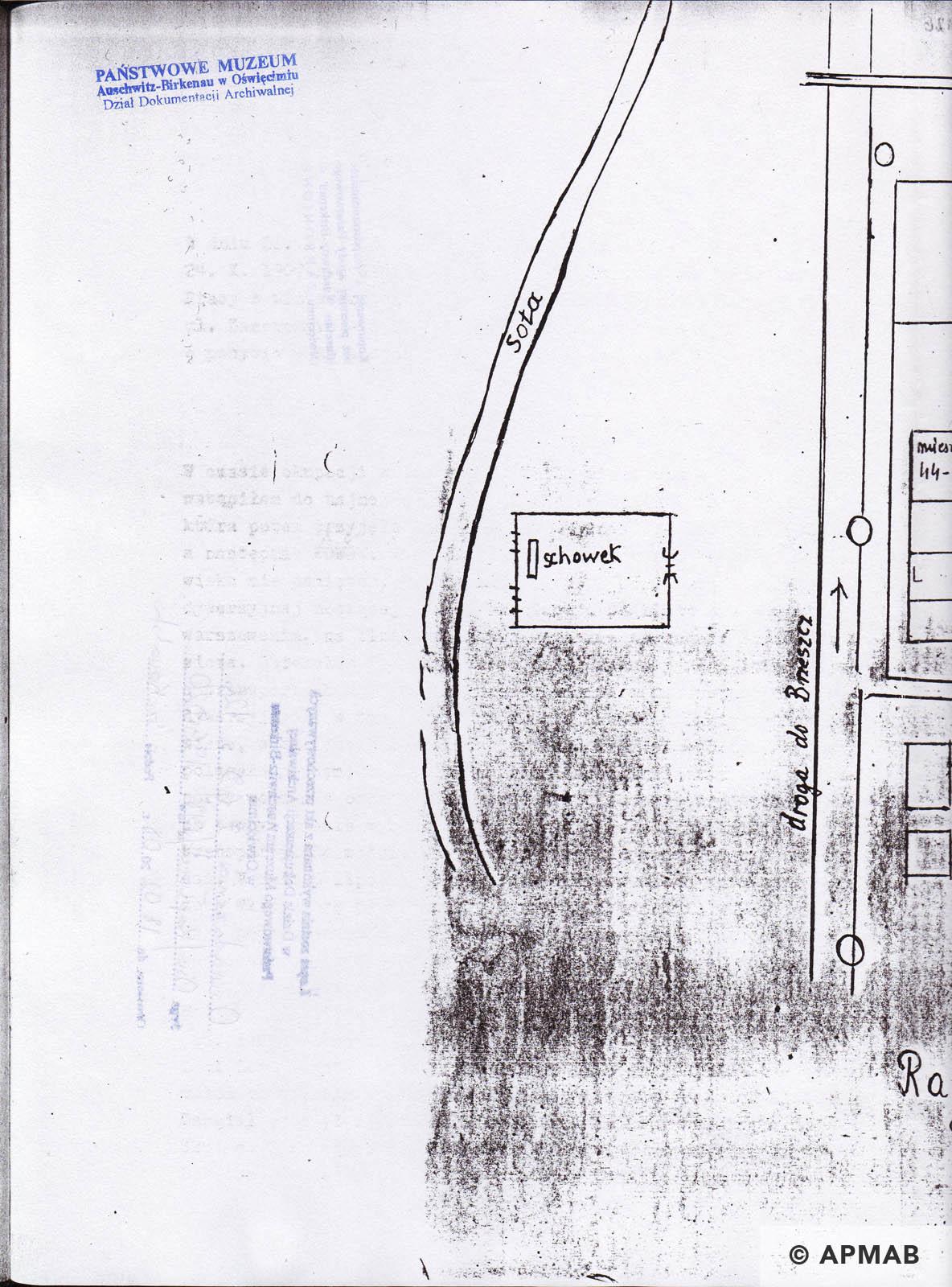 Former prisoner drawing of sub camp Raisko. C APMAB