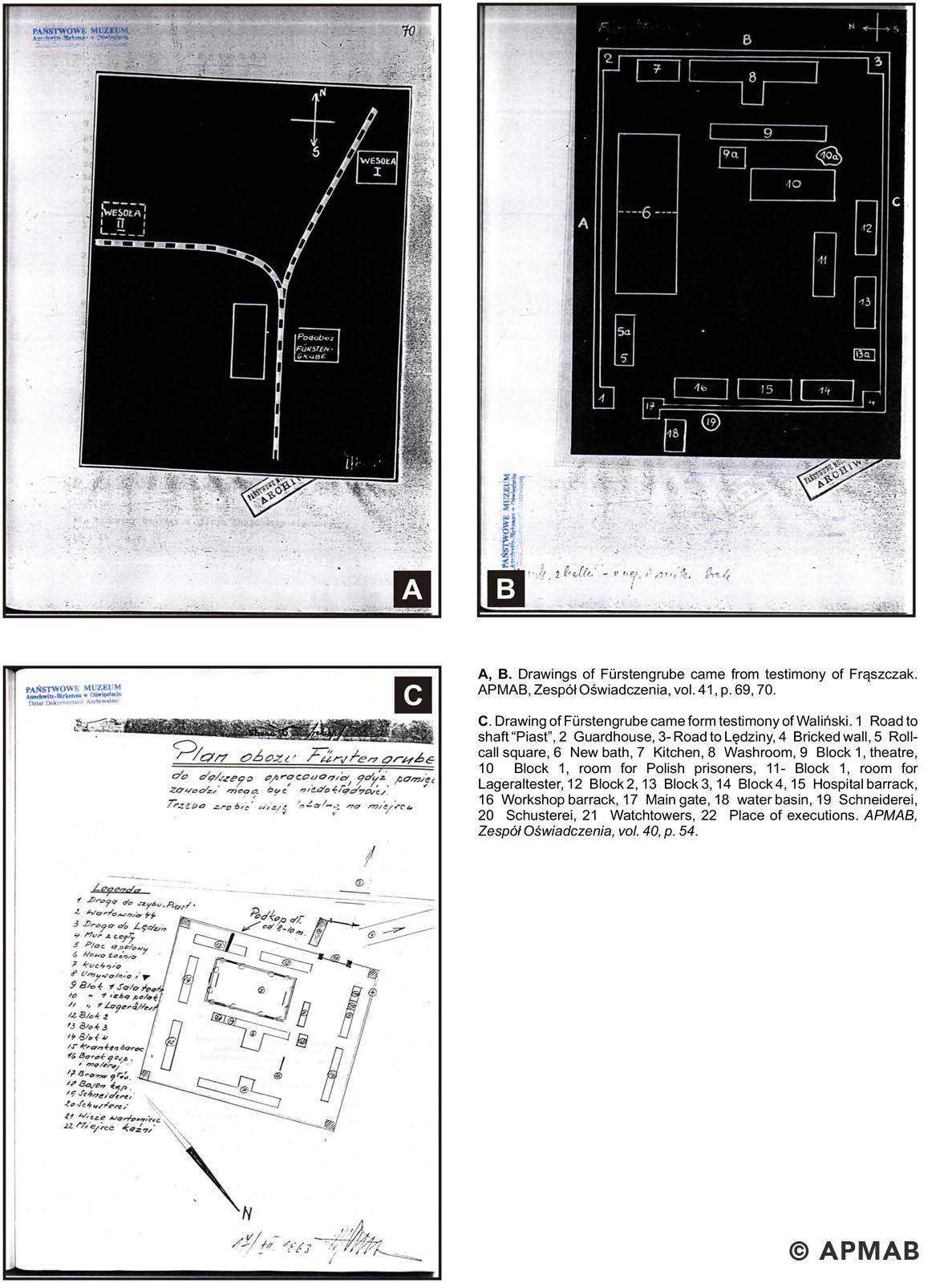 Former prisoner drawings of Fürstengrube sub camp. APMAB