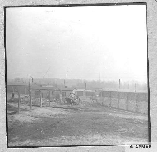 Fragment of fence with top of watch tower. 1959 APMAB 6467