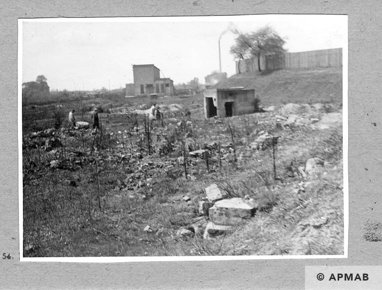 Fragment of the camp bunker, transfrormer and wall. 1962 APMAB 921